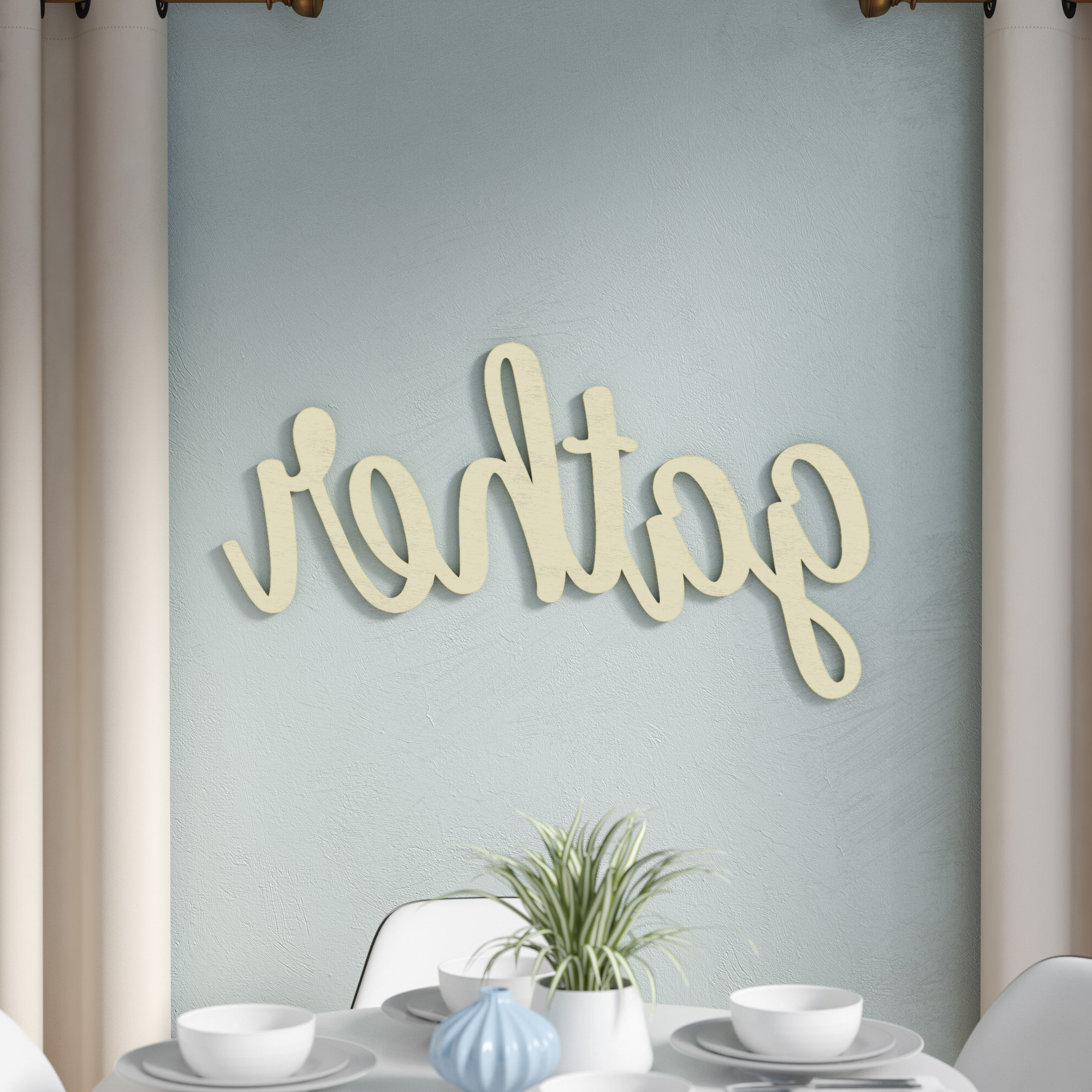 Huge Cursive Word 'gather' Wall Décor With Well Known Gather Script Wall Décor By Winston Porter (View 6 of 20)