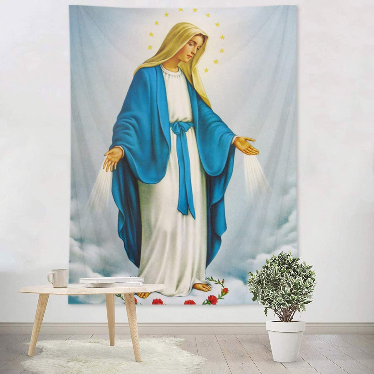 Hvest Blessed Virgin Mary Tapestry Mother Of God Tapestry Wall Hanging Christian Wall Art Decorations Jesus Christ Wall Tapestry Holy Mary Backdrop Within Current Blended Fabric Blessings Of Christmas Tapestries (View 8 of 20)