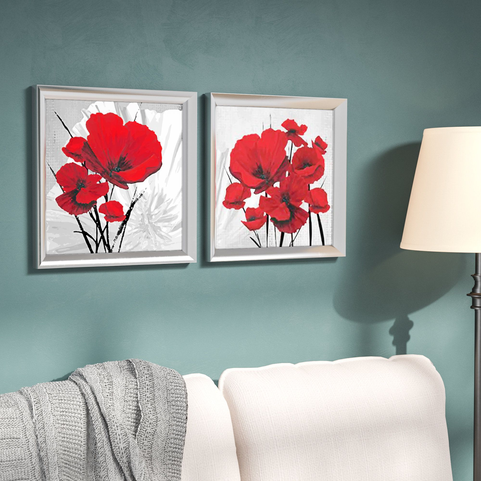 Image Result For Red Poppy Flower Print With Turquoise (View 14 of 20)