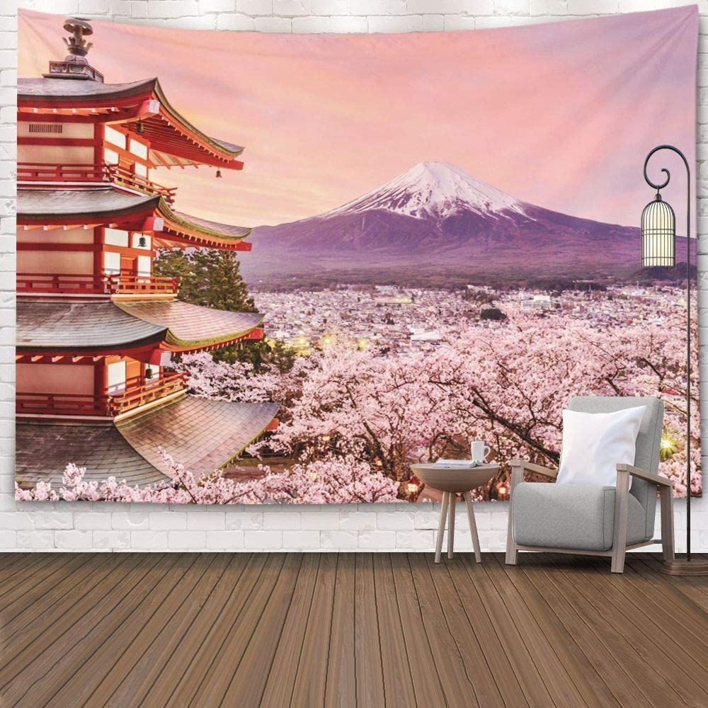 Jacrane Decorative Tapestry Wall Hanging Tapestries With 80x60 Inches Japan Pagoda Mt Fuji In The Spring Cherry Blossoms At Chureito Easter Art Pertaining To Well Liked Blended Fabric Spring Blossom Tapestries (View 6 of 20)