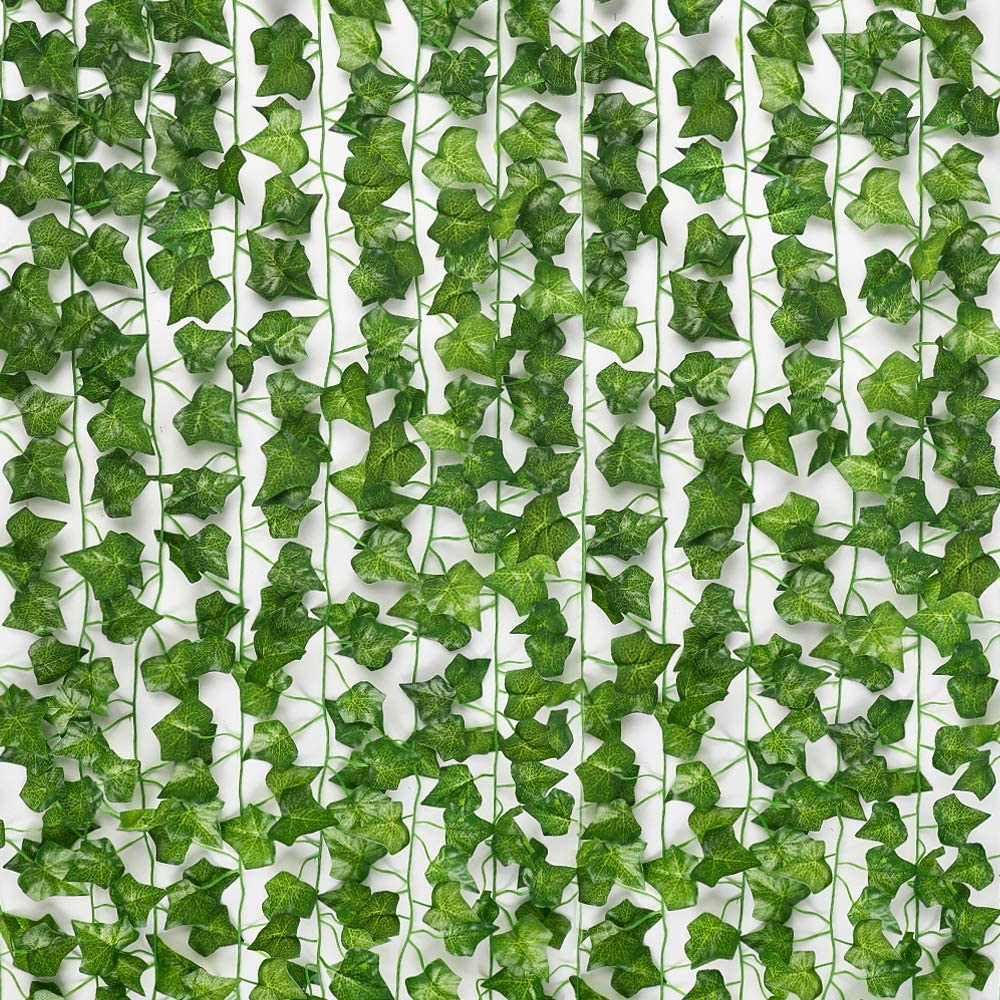 Jpsor 24pcs 158 Feet Fake Ivy Leaves Fake Vines Artificial Ivy, Silk Ivy Garland Greenery Artificial Hanging Leaves Plant For Wedding Wall Decor, With Popular Blended Fabric Leaves Wall Hangings (View 12 of 20)