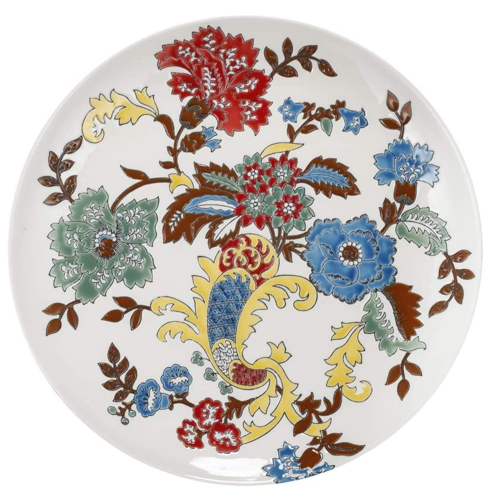 Keramische Dekorplatte Mit Bunten Blumenmotiven Von Casagear Within Widely Used Floral Plate Wall Décor By World Menagerie (View 4 of 20)