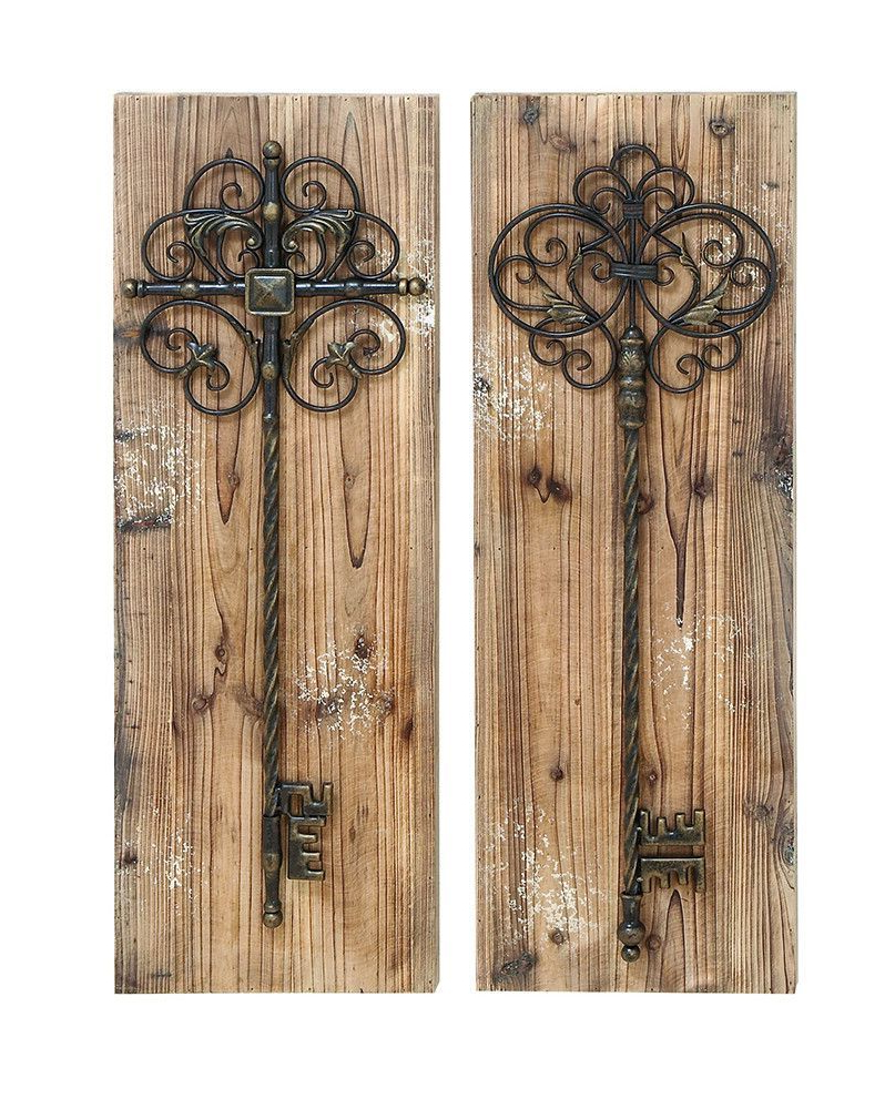 Key Wall Décor (set Of 2) Intended For Newest Giant Scrolled Keys Wall Panels Set Of (View 5 of 20)