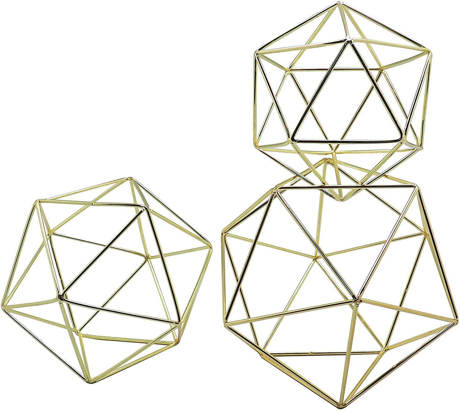 Koyal Wholesale Geometric Decor Shapes, Set Of 3 Assorted Sizes For Table Centerpiece Flower Holders, Gold 3d Hanging Decorations, Himmelis Prisms With Famous 3 Piece Prisma Wall Décor Set (View 12 of 20)
