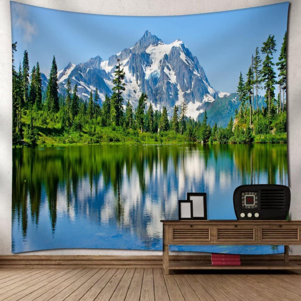 "Krwhts Mountain Nature Tapestry Mount Baker Mountains Lake Forest Trees Landscape Wall Hanging Tapestry – Cotton Polyester Fabric Wall Art150130cm(60"" For Most Popular Blended Fabric Lago Di Como Ii Wall Hangings (View 2 of 20)"