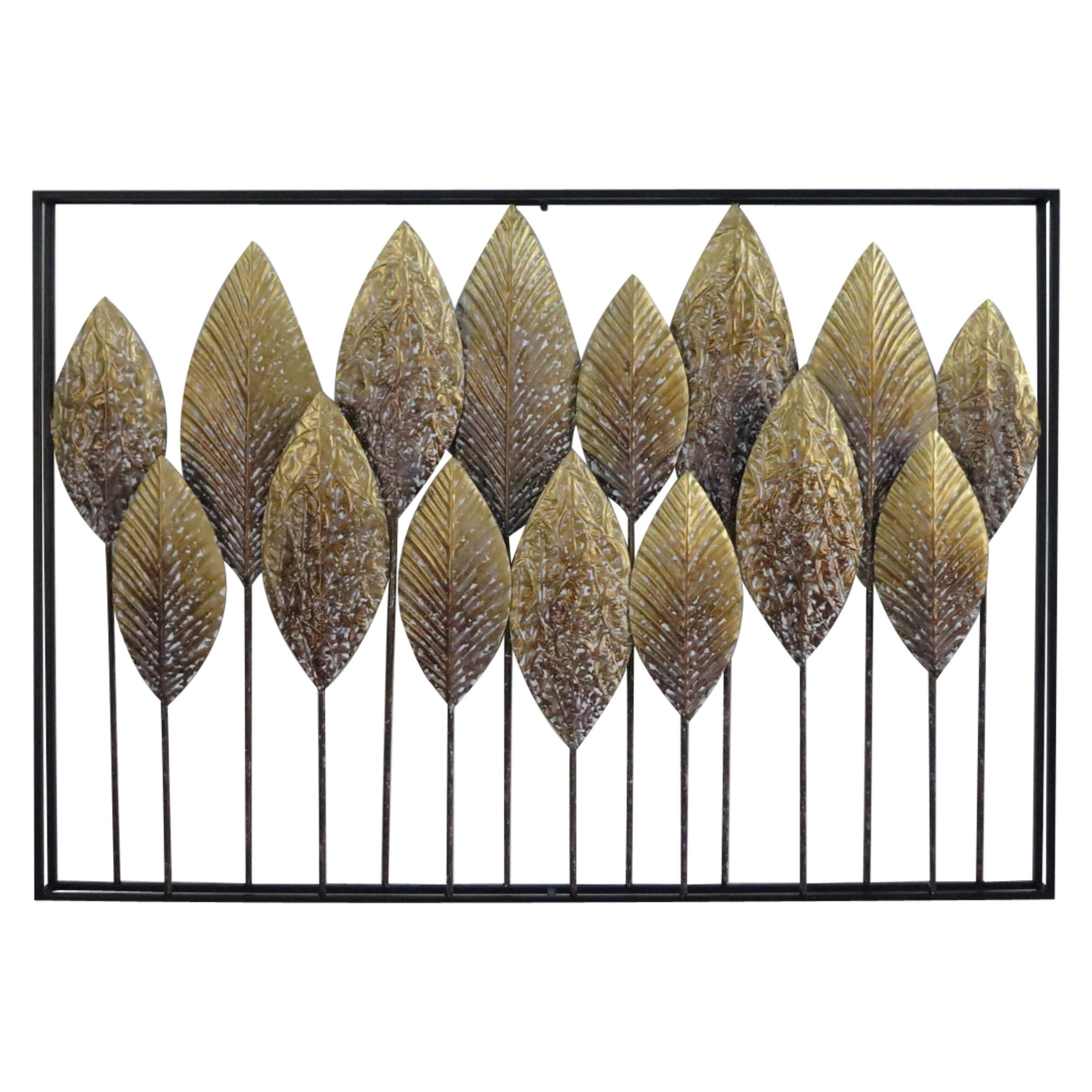 """Large Rectangular Whitewashed Gold Leaves Metal Wall Decor 40"""" X 28"""" In Well Known Rectangular Metal Wall Décor (View 11 of 20)"""