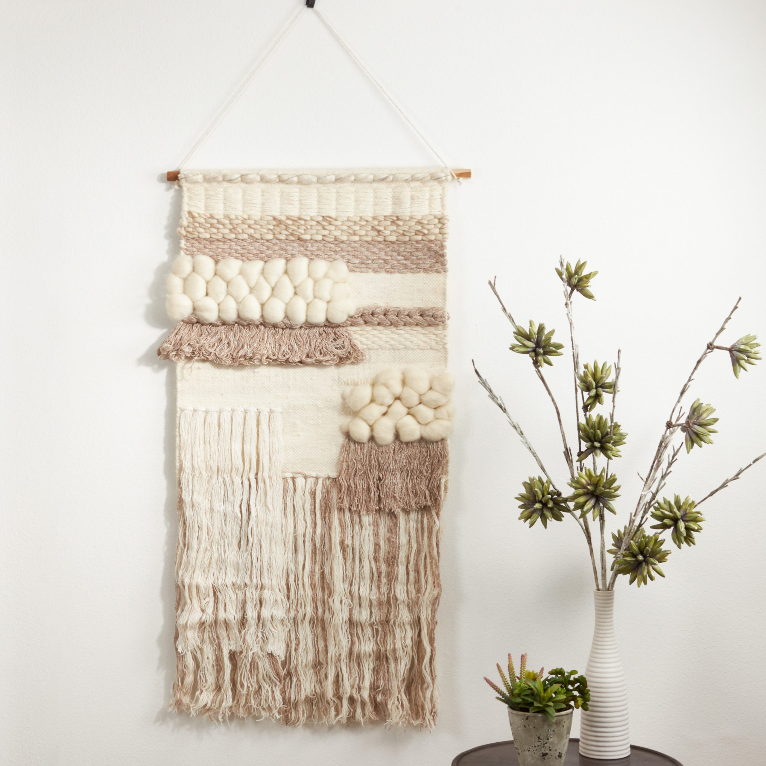 Latest Blended Fabric Saber Wall Hangings With Rod Within Bungalow Rose Blended Fabric Fringed Design Woven With Rod (View 9 of 20)