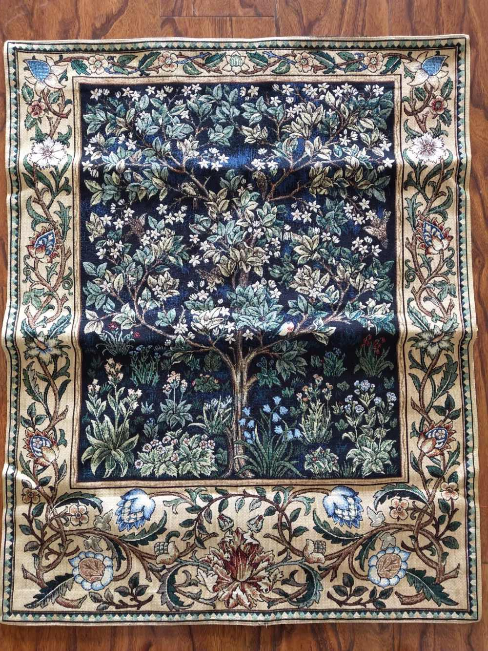 Latest Blended Fabric Tree Of Life, William Morris Wall Hangings Inside Belgium William Morris Works Tree Of Life Home Textile Jacquard Fabric Product Tapestry Wall Hangings Happy Fortune Tree Decorat (View 17 of 20)