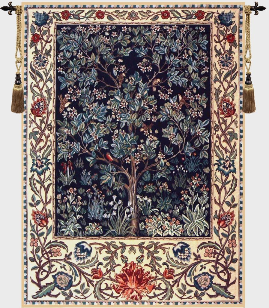Latest Blended Fabric Tree Of Life, William Morris Wall Hangings Throughout Tree Of Life Blue William Morris Belgian Wall Tapestry (View 6 of 20)