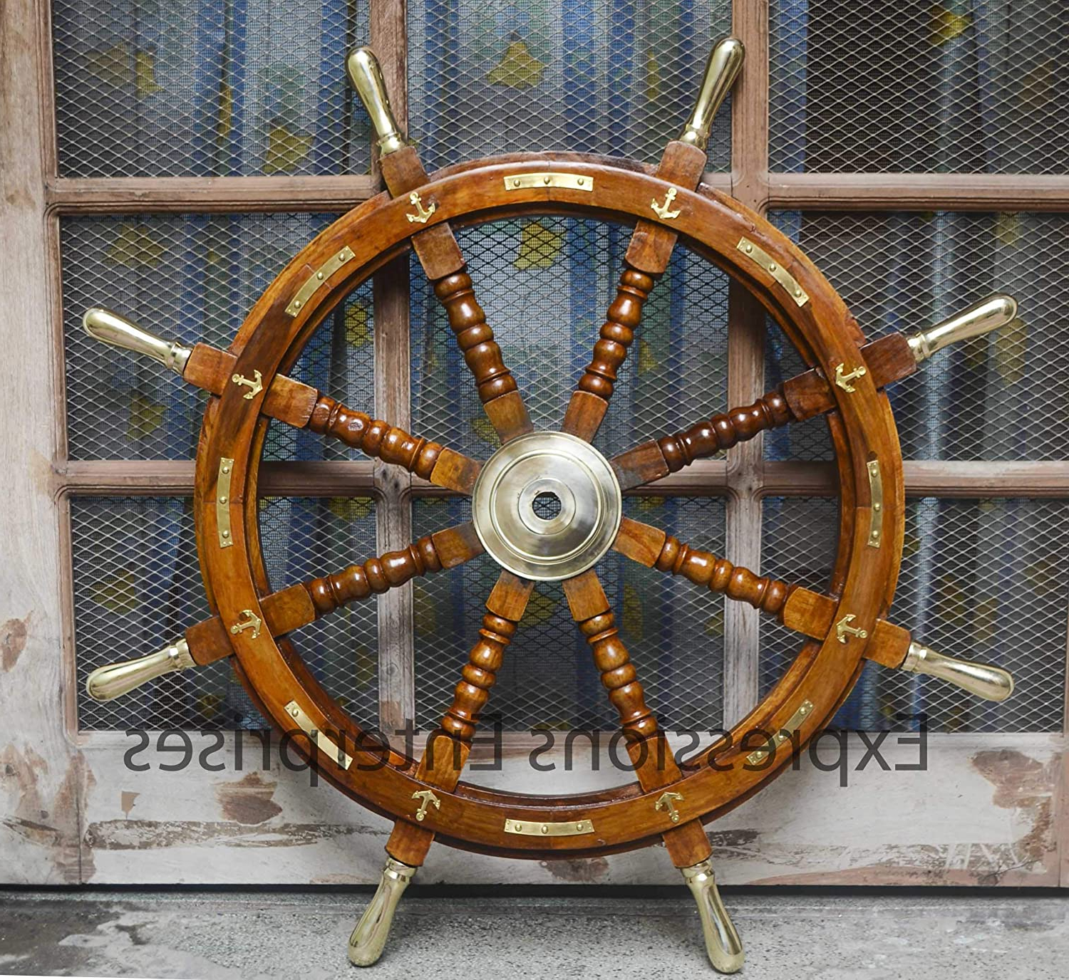 """Latest Brown/brass Wood Ship Wheel Wall Décor Inside Expressions Enterprises Wooden Ship Wheel, Brass Anchor Captains Wheel Wall Decor 36"""" Wooden Boats Steering Helm Pirates Decor Wheel (36"""") (View 9 of 20)"""