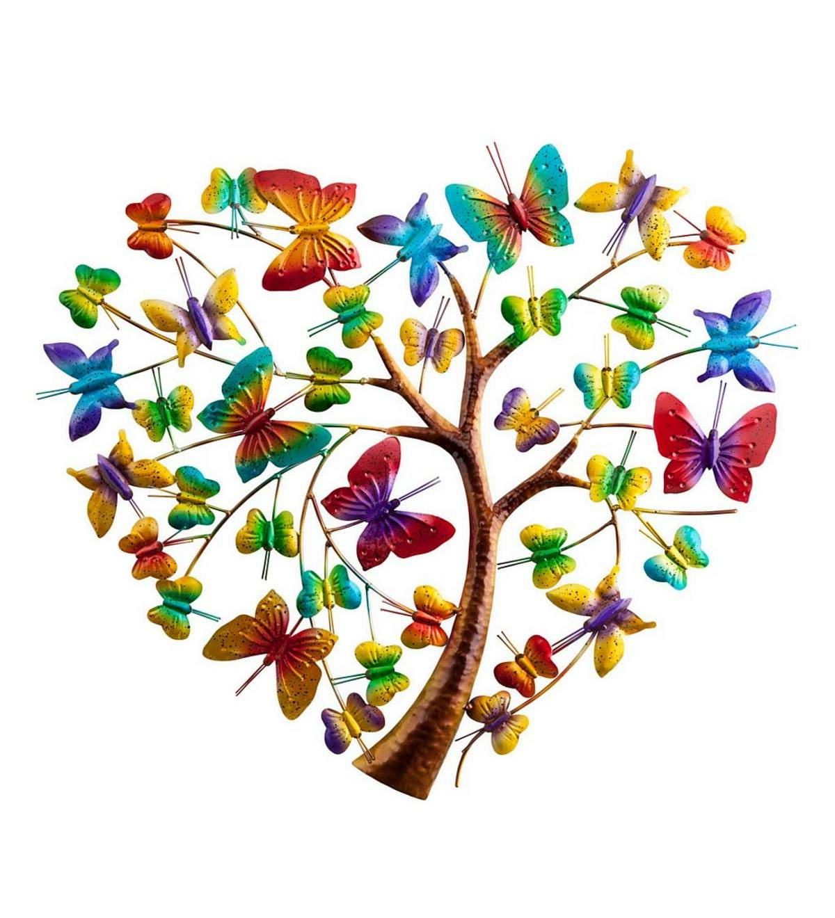 """Latest Handcrafted Colorful Metal Butterfly Heart Tree Wall Art In Heart Shaped """"welcome"""" Sign Wall Décor By August Grove (View 16 of 20)"""