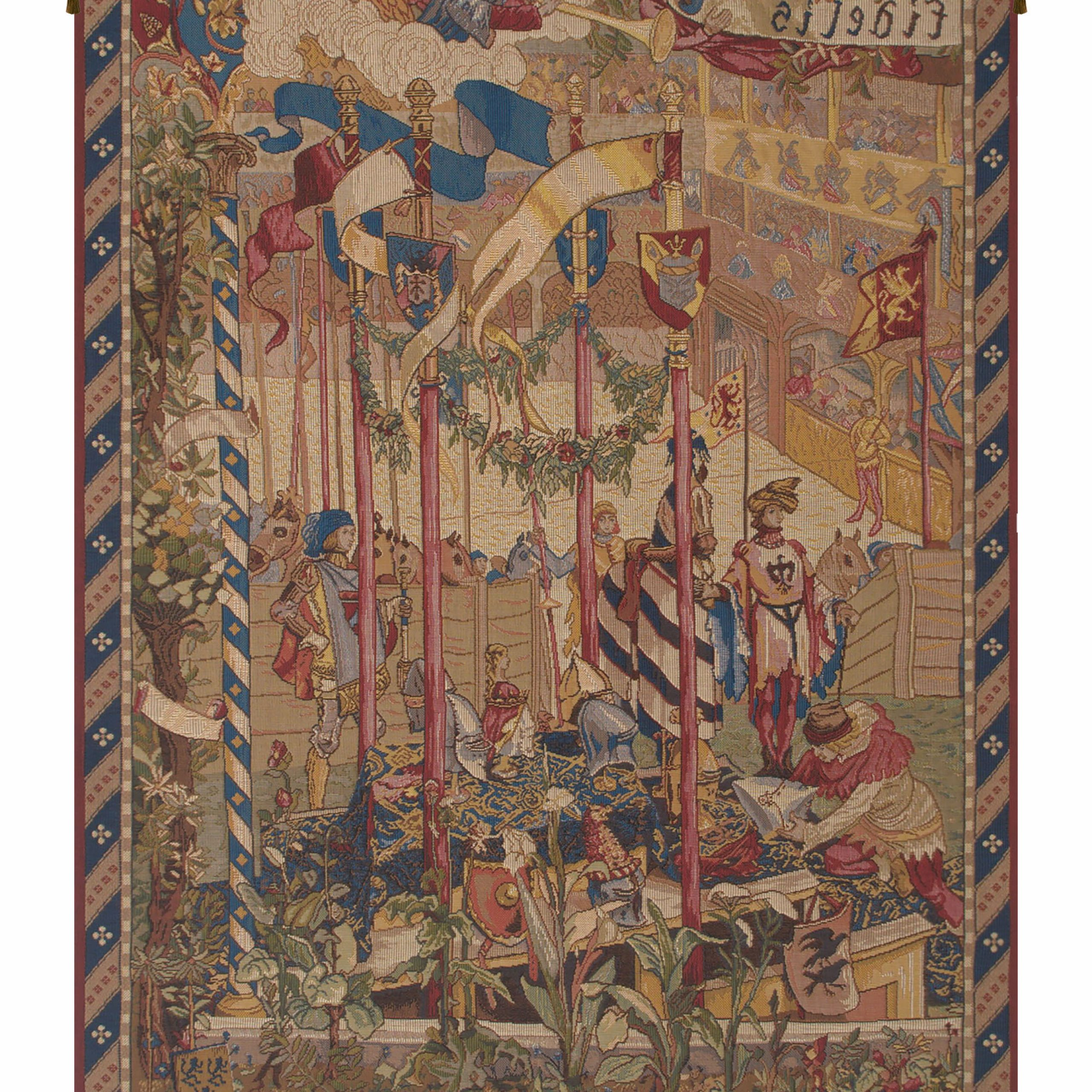Latest La Joute French Wall Tapestry Hanging For Blended Fabric Ethereal Days Chinoiserie Wall Hangings With Rod (View 3 of 20)