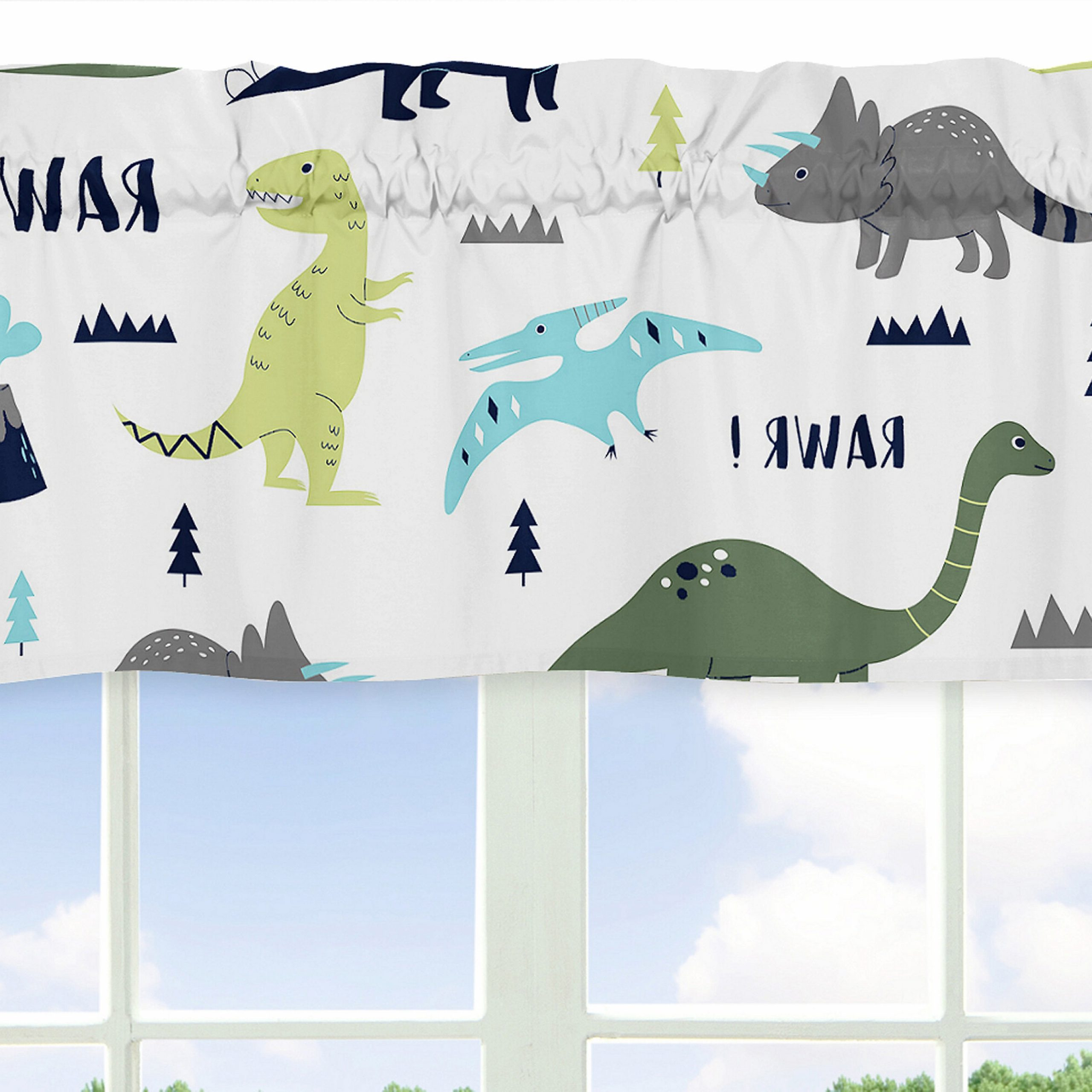 """Latest Mod Dinosaur 54"""" Window Valance In Blended Fabric Mod Dinosaur 3 Piece Wall Hangings Set (View 11 of 20)"""