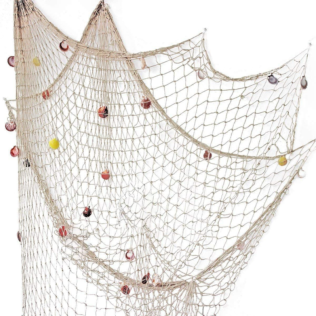 Latest Rosoz Nature Fish Net Wall Decoration With Shells, Ocean Themed Wall Hangings Fishing Net Party Decor For Pirate Party,wedding,photographing For Handcrafted Hanging Fish In Net Wall Décor (View 3 of 20)