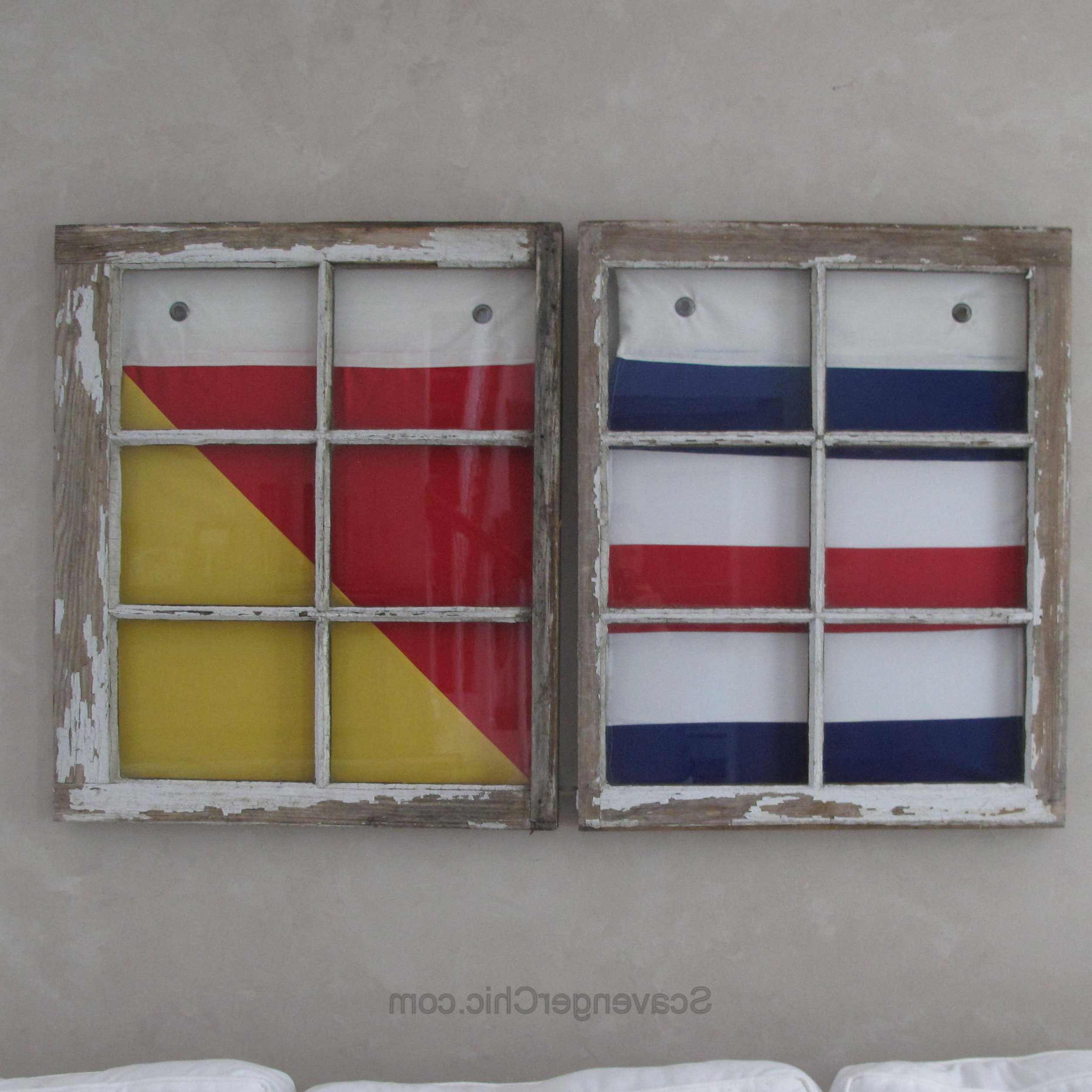 Latest Vintage Windows And Signal Flags Wall Decor – Scavenger Chic With Letter Wooden Nautical Alphabet Flag Wall Décor (View 13 of 20)