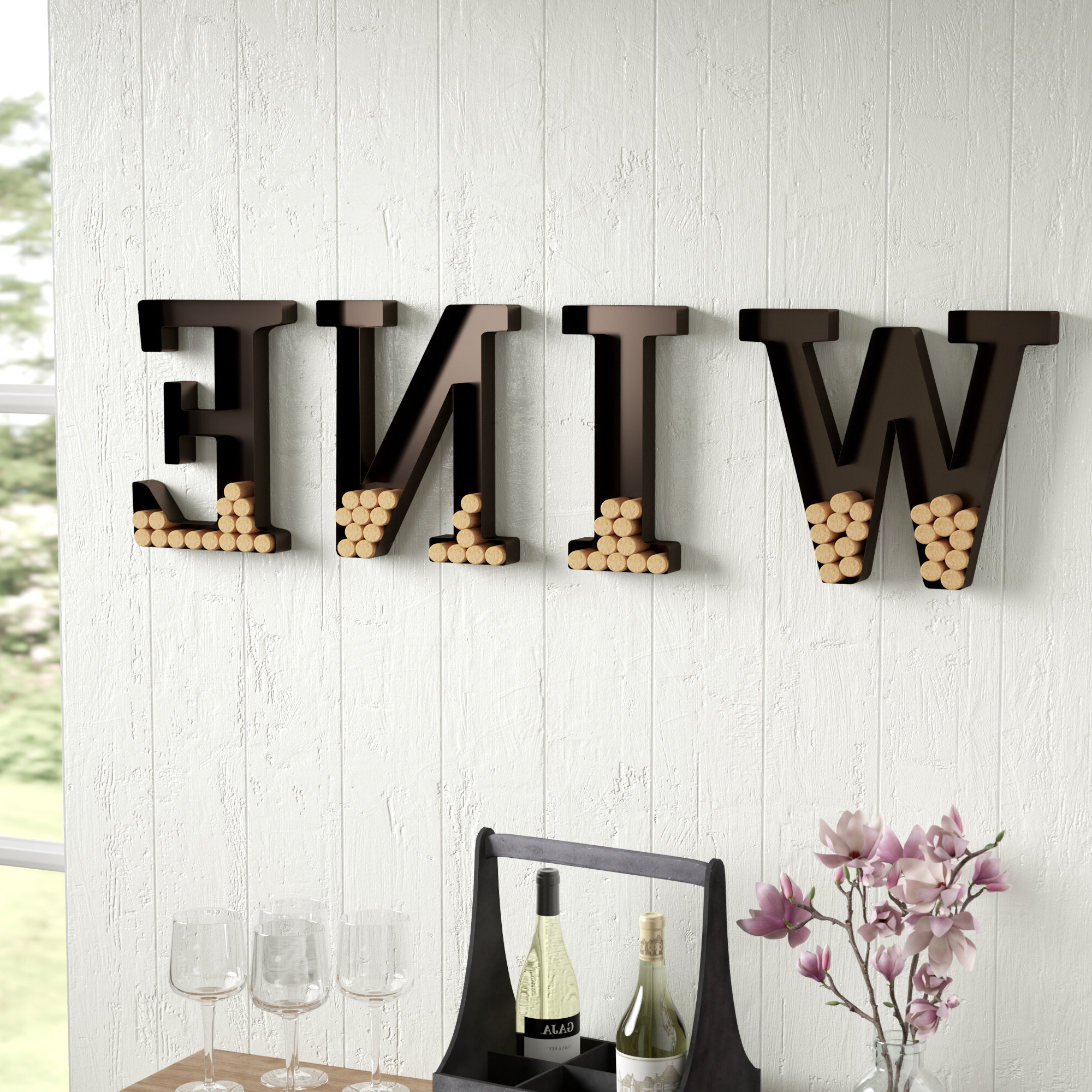"Latest Wall Mount ""wine"" Letters Cork Holder Wall Décor In 4 Piece ""wine"" Letter Set Cork Holder Wall Décor Set (View 10 of 20)"