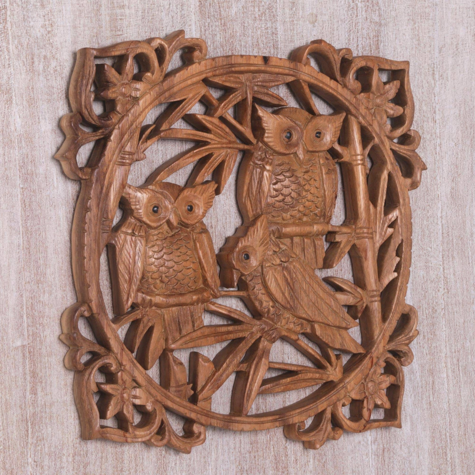 Latest Wood Wall Relief Panel, 'owl Family Portrait' (View 7 of 20)