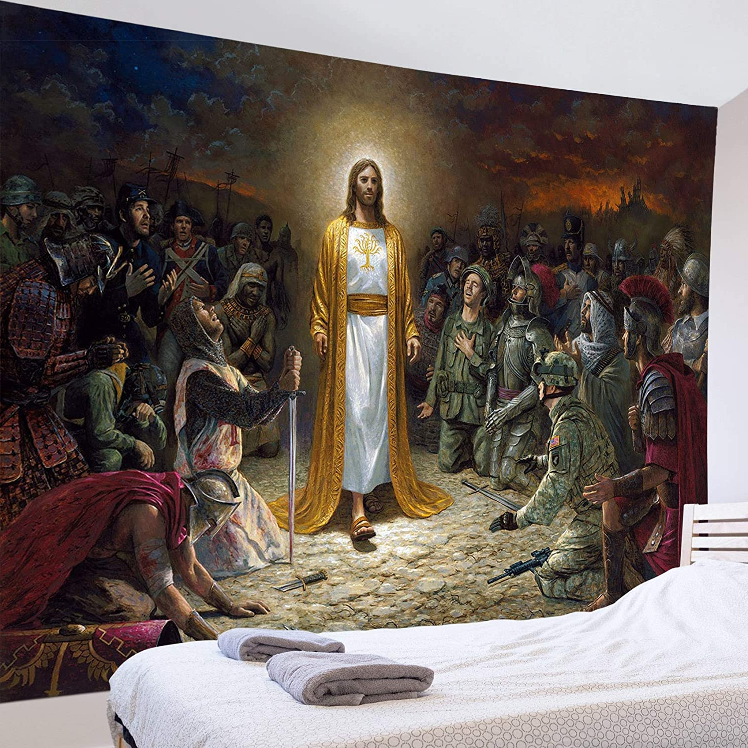 Lb Christmas Jesus Christ Tapestry Wall Hanging Jesus Preached Scene 3d Watercolor Tapestry Wall Blanket Wall Art Wall Decor Christian Tapestry For Intended For Most Current Blended Fabric Trust In The Lord Tapestries And Wall Hangings (View 7 of 20)