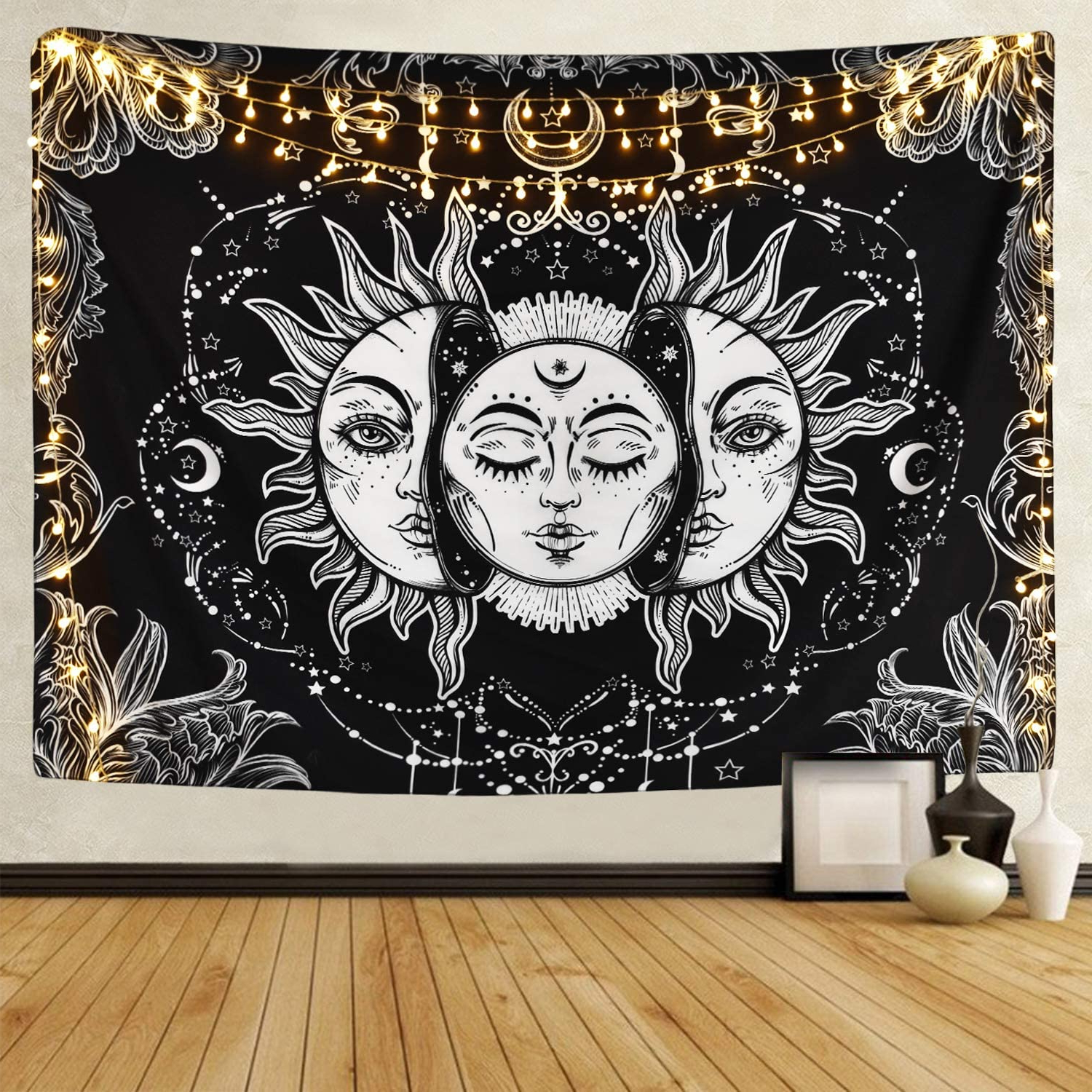 Likiyol Sun And Moon Tapestry Burning Sun With Star Tapestry Psychedelic Tapestry Black And White Mystic Tapestry Wall Hanging Inside Most Current Blended Fabric Celestial Wall Hangings (set Of 3) (View 7 of 20)