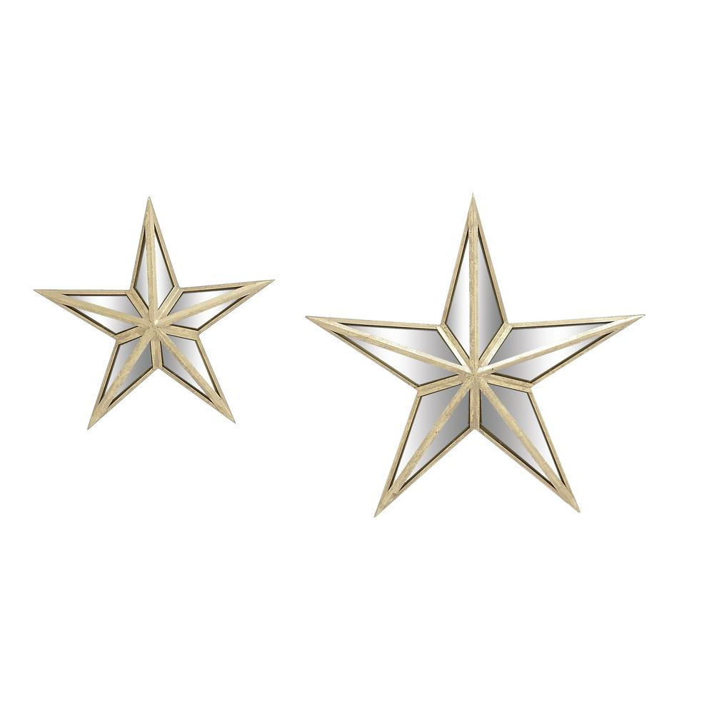 Litton Lane Iron Distressed White Mirrored Star Metal Works (set Of 2) 18198 – The Home Depot Throughout Most Recently Released Barn Star Wall Décor (set Of 2) (View 19 of 20)