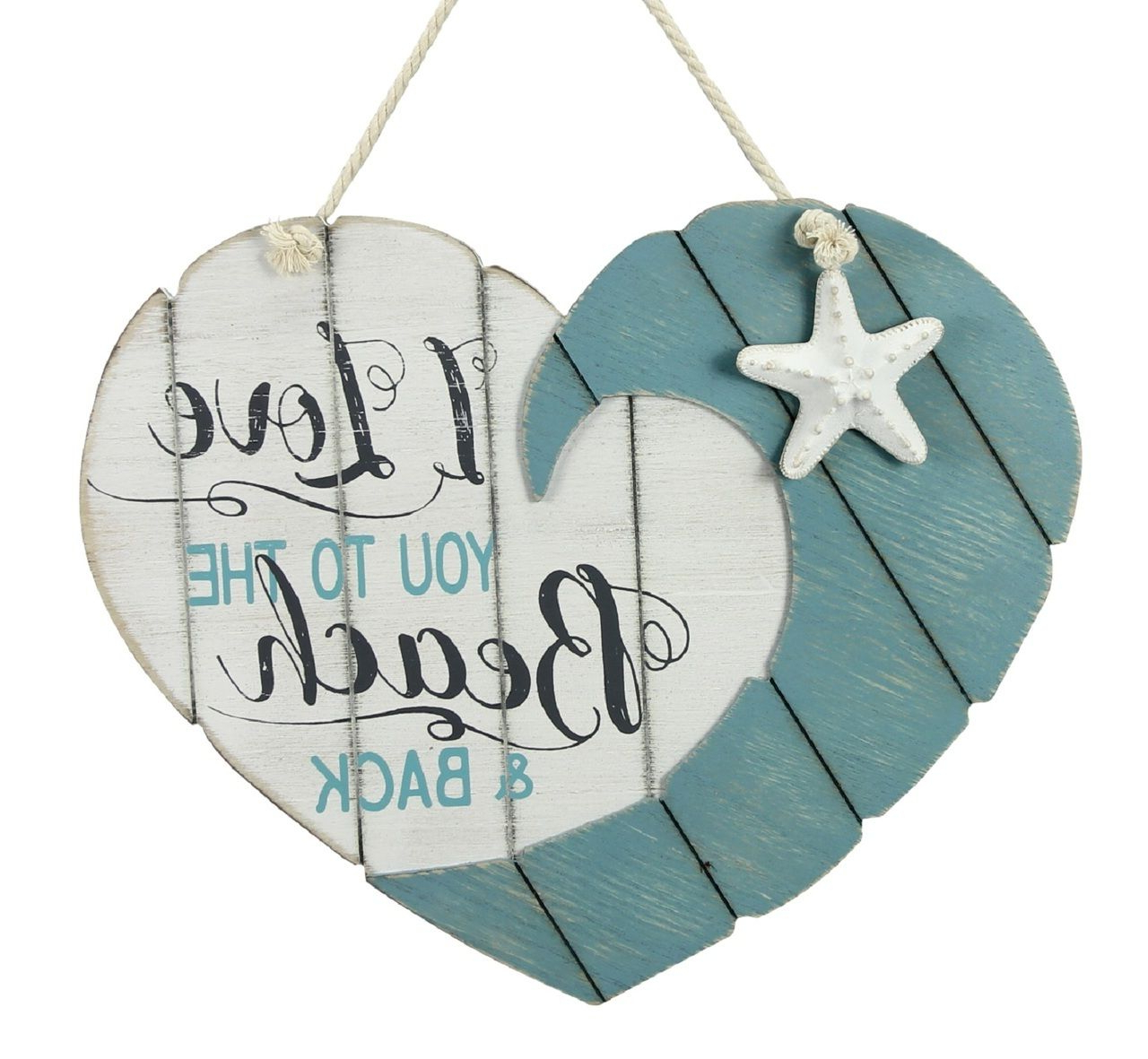 """Love You To The Beach And Back Heart Shaped Wood Wall Plaque Intended For Best And Newest Heart Shaped """"home"""" Sign Wall Décor (View 6 of 20)"""