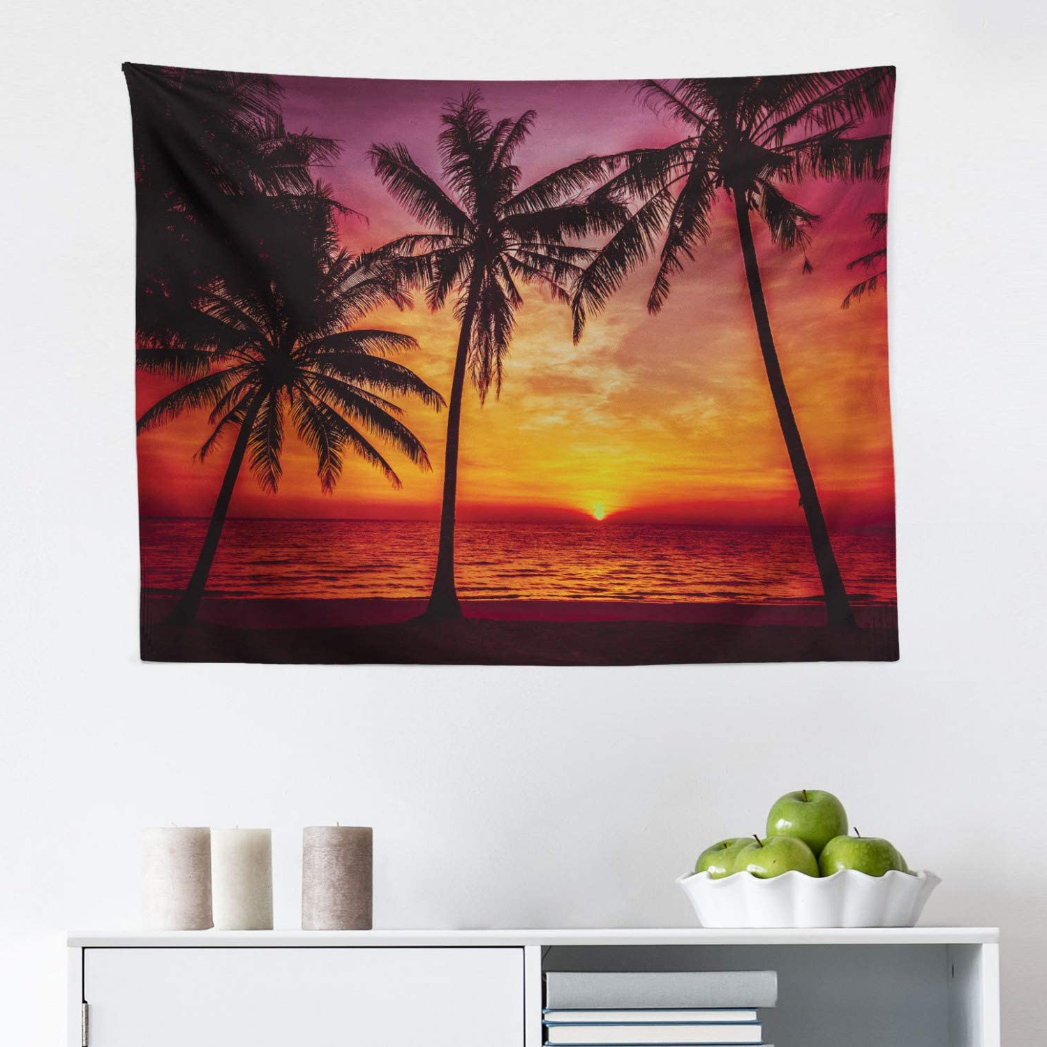 Lunarable Tropical Tapestry, Sunset Tropical Beach With Palm Trees Peaceful Ocean Evening View Resort, Fabric Wall Hanging Decor For Bedroom Living For Well Liked Blended Fabric Palm Tree Wall Hangings (View 17 of 20)