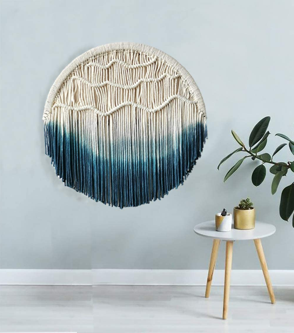 Macrame Wall Hanging Blue Dream Catcher Moon Tapestry Wall Art Home Wall Decor, (View 8 of 20)