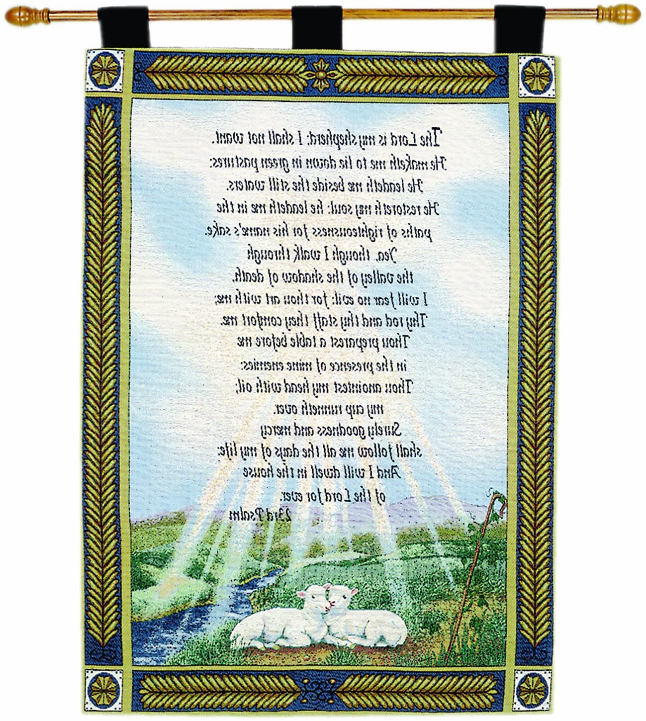 Manual Inspirational Collection 26 X 36 Inch Wall Hanging And Finial Rod, 23rd Psalm Pertaining To Recent Blended Fabric Freedom Verse Tapestries And Wall Hangings (View 8 of 20)