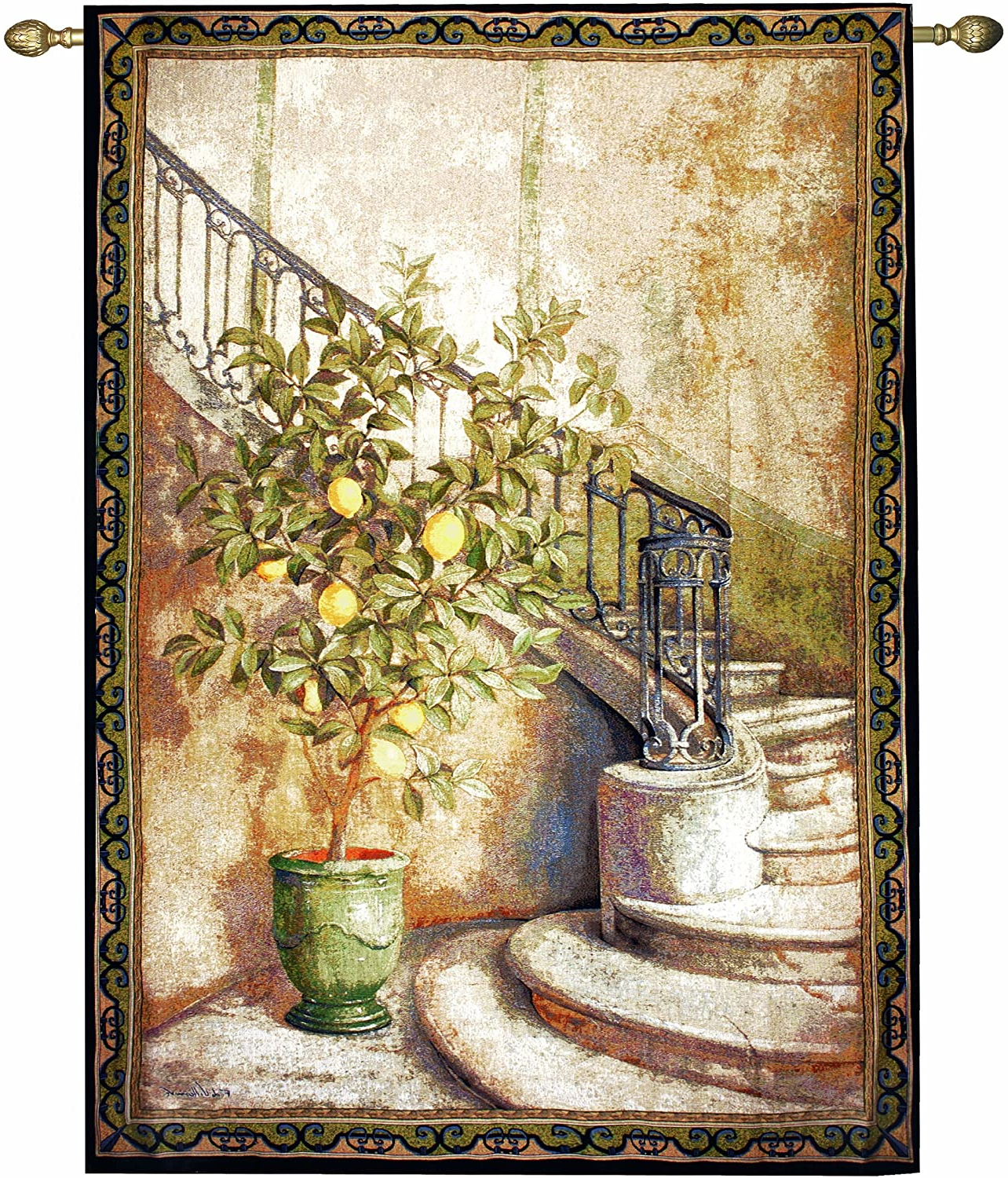 Manual Lemon Stairwell Grande Tapestry Wall Hanging, 56 X 80 Inch Throughout Preferred Blended Fabric Living Life Bell Pull Wall Hangings (View 3 of 20)