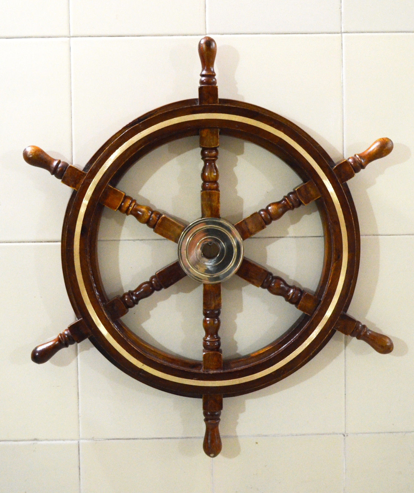 Maritime Wheels Wall Decor Nautical Brown Wooden Ship Wheel Throughout Well Known Brown/brass Wood Ship Wheel Wall Décor (View 12 of 20)