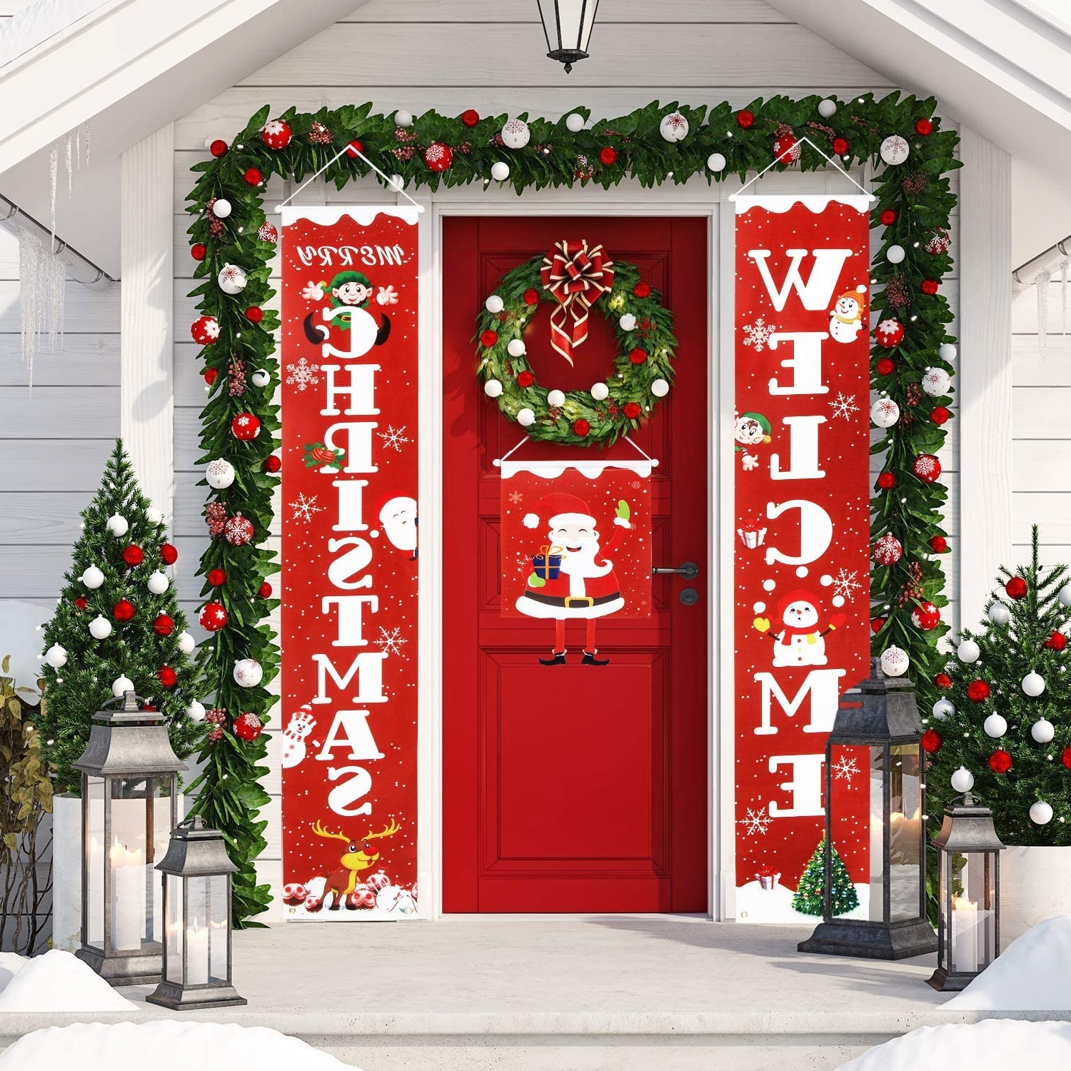 Merry Christmas Sign Wall Décor In Most Recent 3 Pcs Merry Christmas Banner Porch Decorations For Home Decor Welcome Sign For Front Door, Hanging Christmas Decorations Porch Sign For Indoor Outdoor (View 8 of 20)