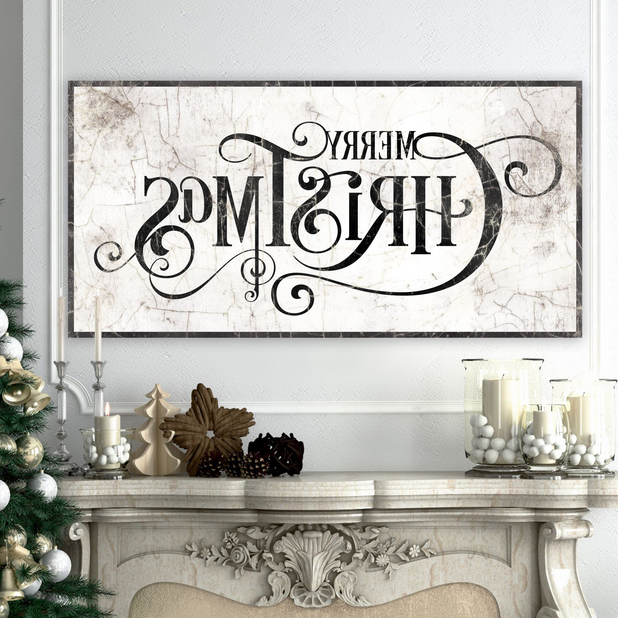Featured Photo of Merry Christmas Sign Wall Décor