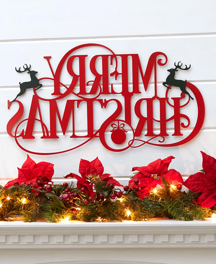 Merry Christmas Sign Wall Décor Regarding Trendy Metal Holiday Wall Hangings (View 4 of 20)