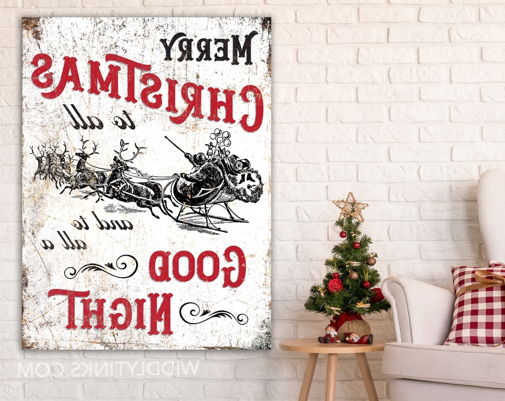 Merry Christmas Sign Wall Décor With Well Liked Vintage Style Merry Christmas To All Sign (View 12 of 20)