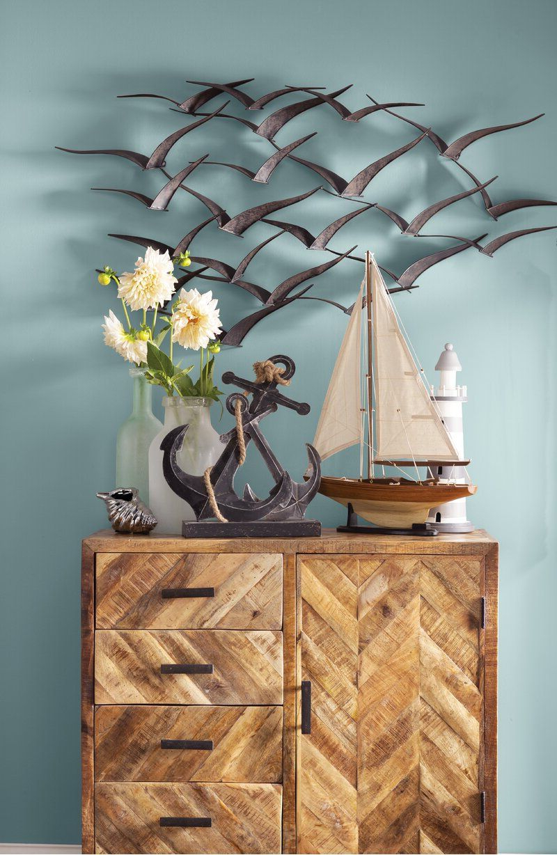 Metal Birds Wall Décor By Beachcrest Home Inside 2020 Beautiful Patterned Metal Flocking Birds Wall Decor In (View 5 of 20)