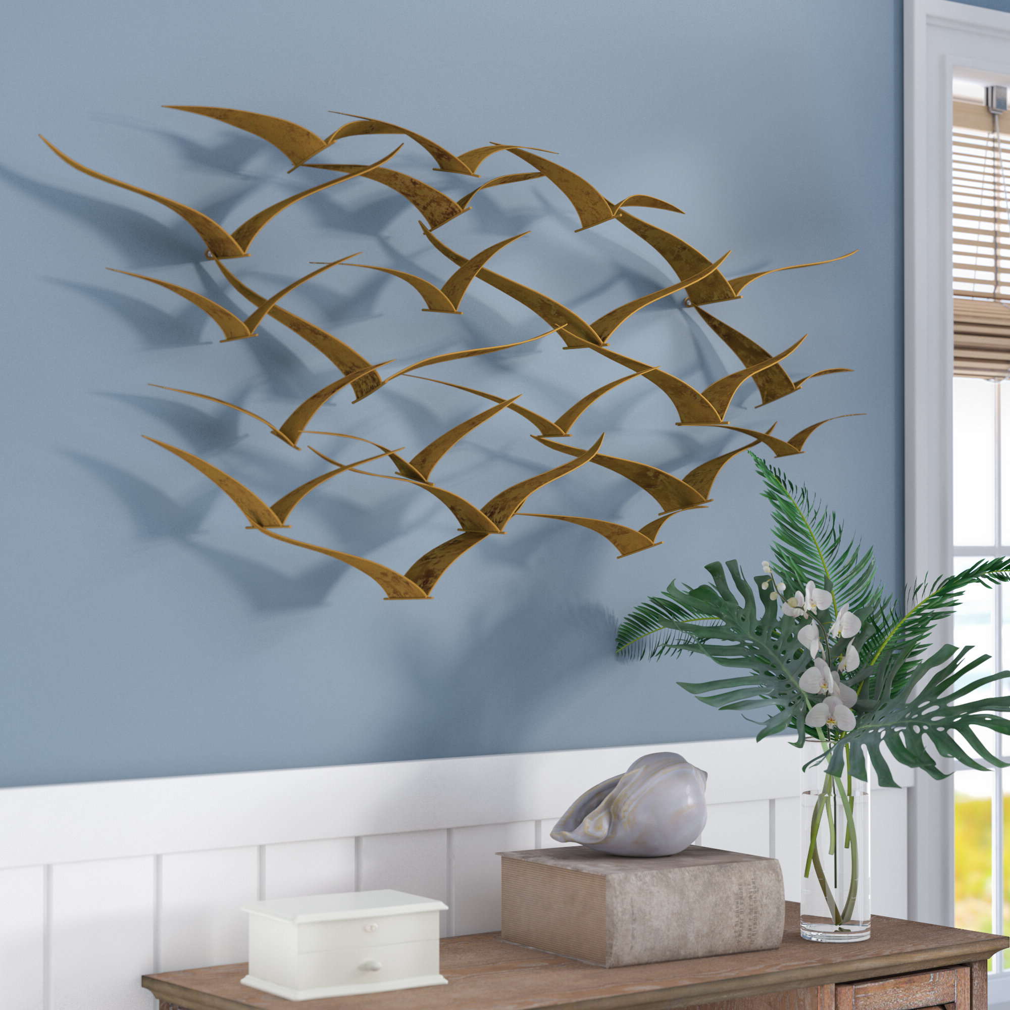 Metal Birds Wall Décor By Beachcrest Home Pertaining To Trendy Beachcrest Home™ Wall Accents You'll Love In (View 9 of 20)
