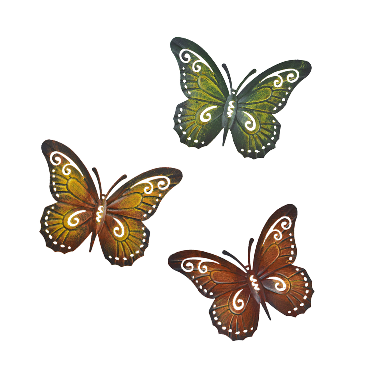 Metal Butterfly Wall Decor – Colored Metal Butterflies, Set Of Three Wall Art – Walmart Pertaining To Best And Newest Multicolored Butterfly Bouquet Wall Décor (View 13 of 20)