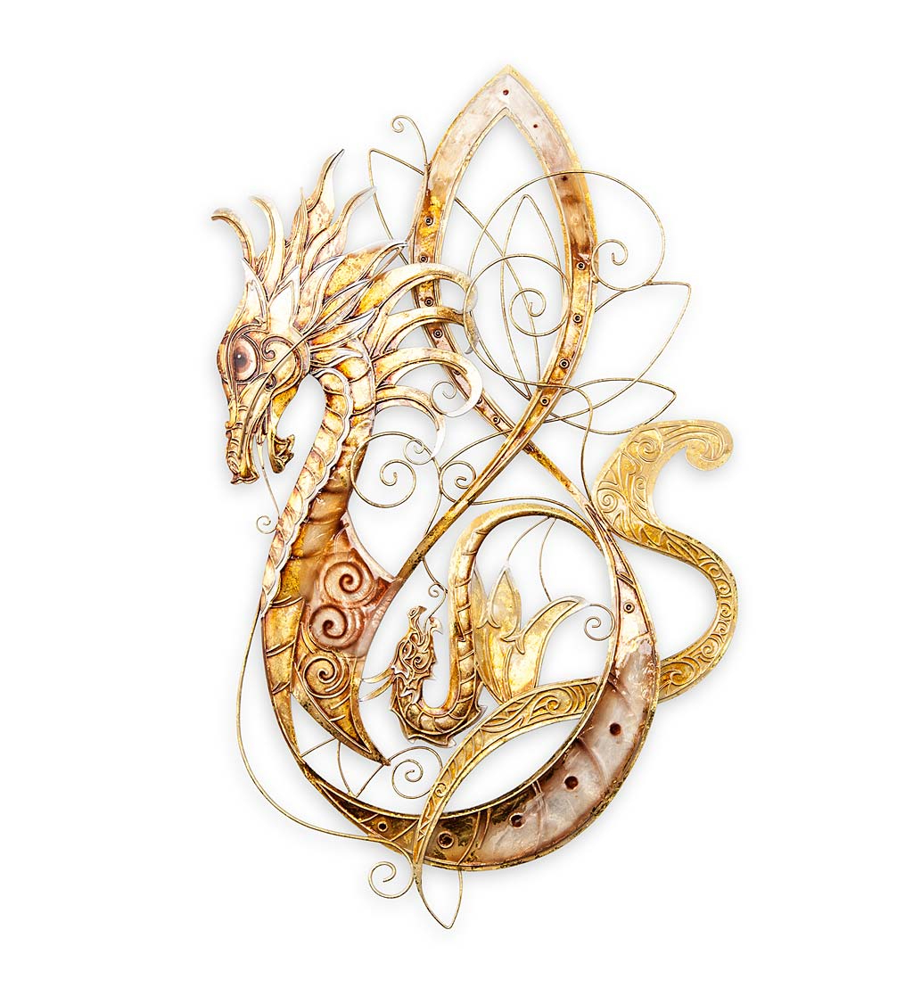Metal Capiz Wall Decor By Wrought Studio Pertaining To Favorite Golden Metal And Capiz Dragon Wall Art (View 9 of 20)