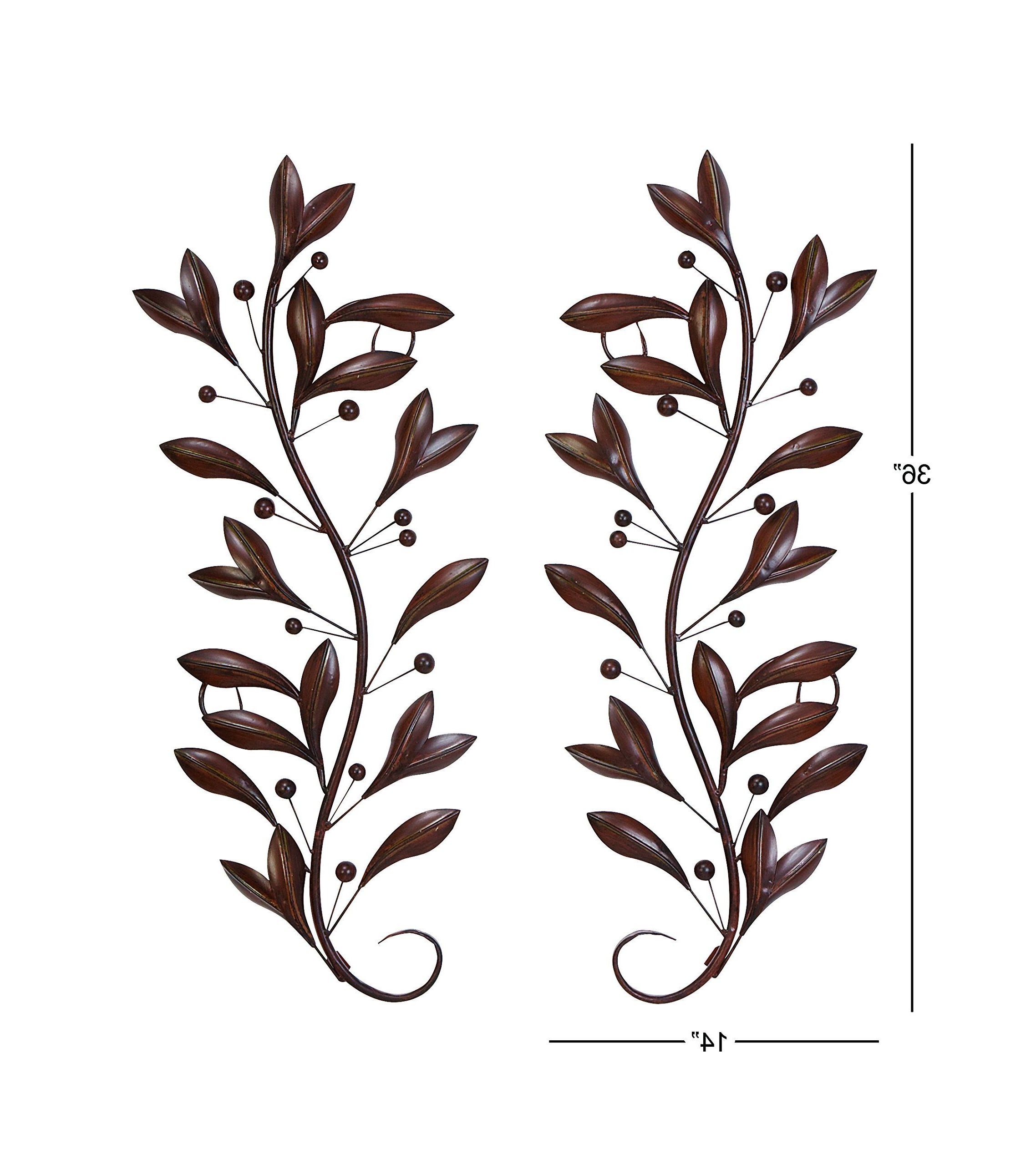 Metal Leaf With Berries Wall Décor Intended For Most Recent Deco 79 63048 Loft Nature Metal Leaf Wall Decor 1436inch (View 8 of 20)