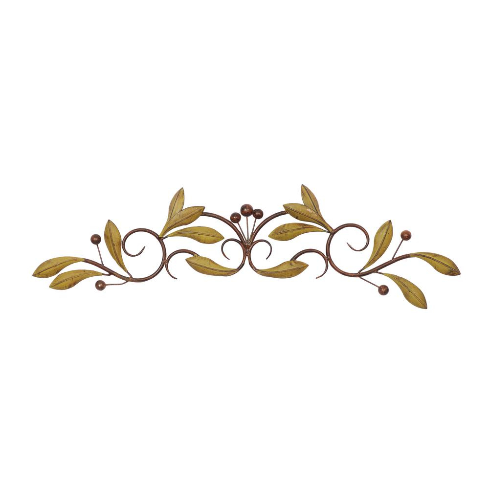 Metal Leaf With Berries Wall Décor Pertaining To Fashionable Litton Lane Leaves And Berries Wall Decor, Metal Wall Decor, 31 In. X 6 In (View 7 of 20)