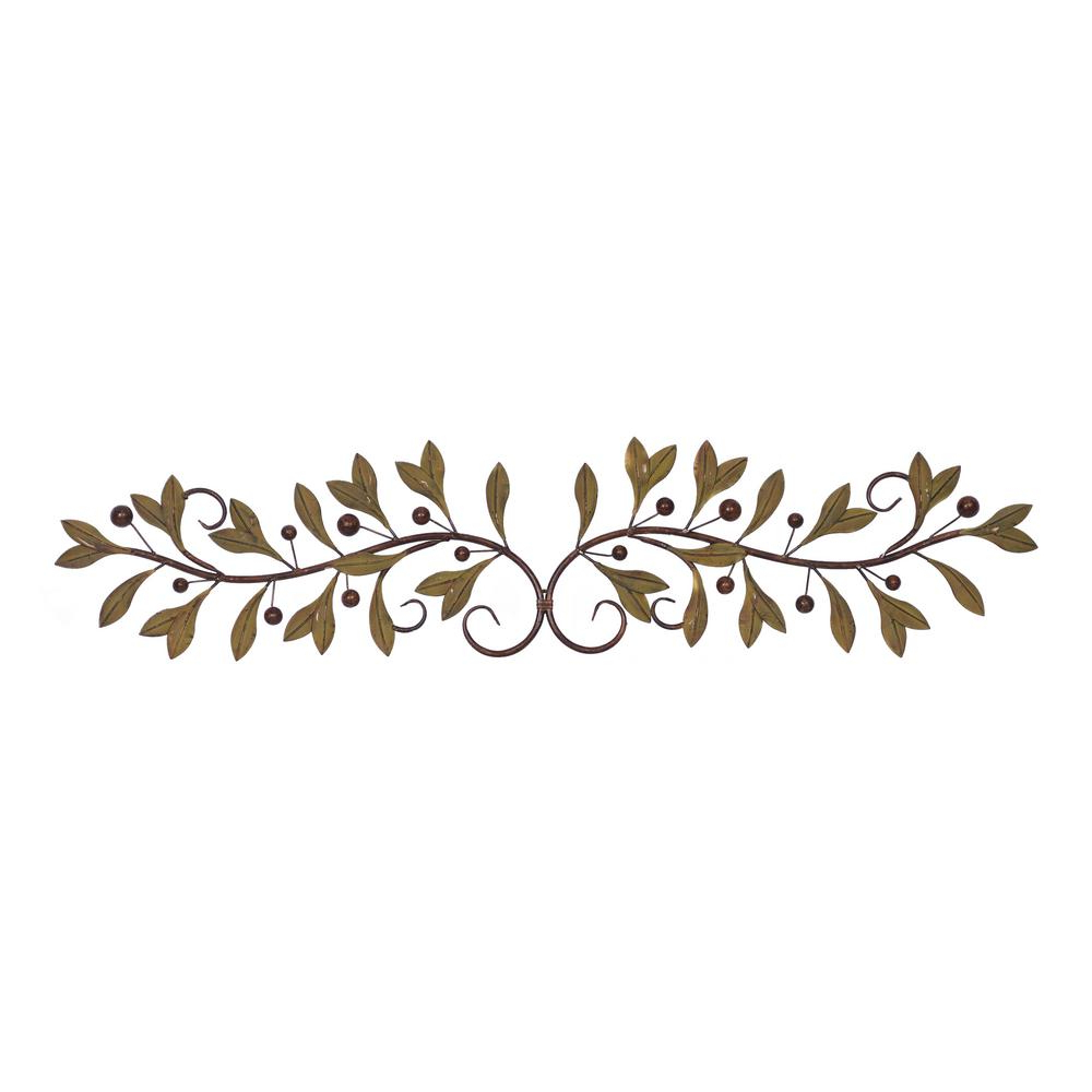 Metal Leaf With Berries Wall Décor Regarding Fashionable Unbranded Metal Brown And Green Leaf And Berry Wall Decor 63036 – The Home Depot (View 12 of 20)