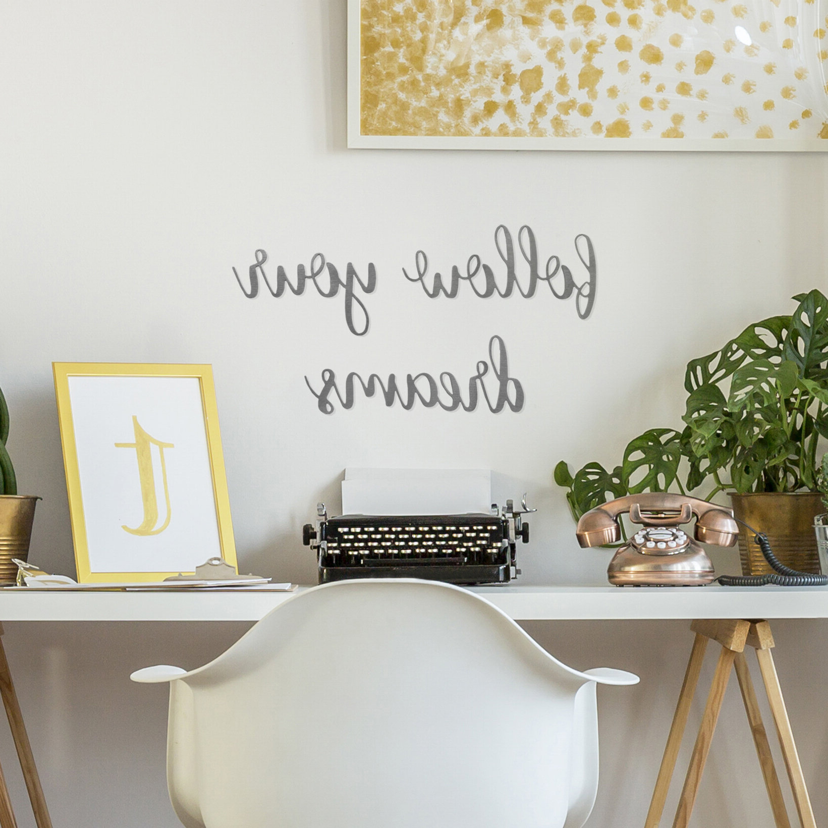 Metal Premier Script Word Or Phrase Wall Décor Inside Latest Gather Script Wall Décor By Winston Porter (View 13 of 20)
