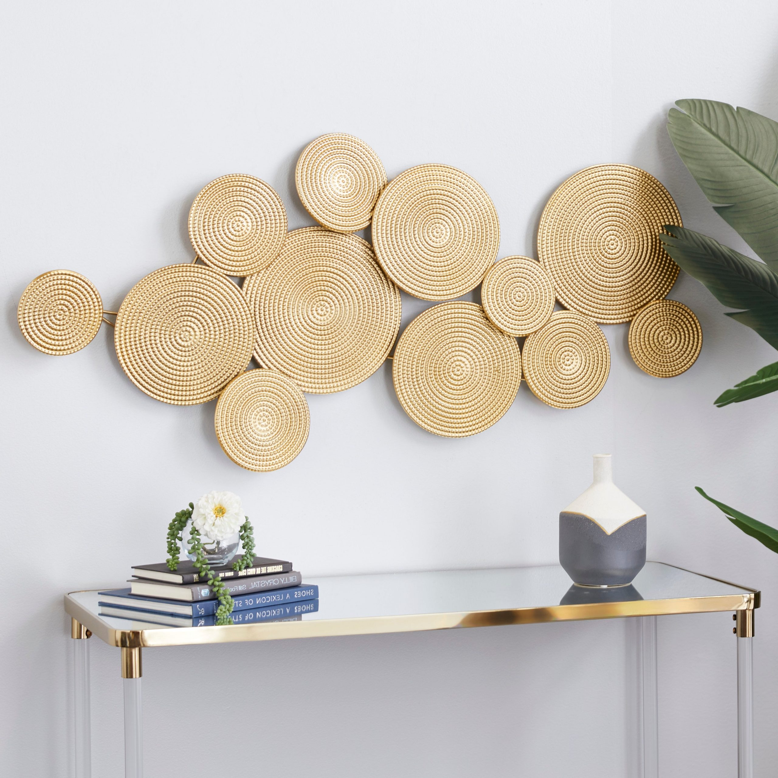 Metal Wall Décor By Cosmoliving In 2020 Cosmolivingcosmopolitan Gold Metal Wall Decor 24 X 49 X 3 – 49 X 3 X (View 3 of 20)