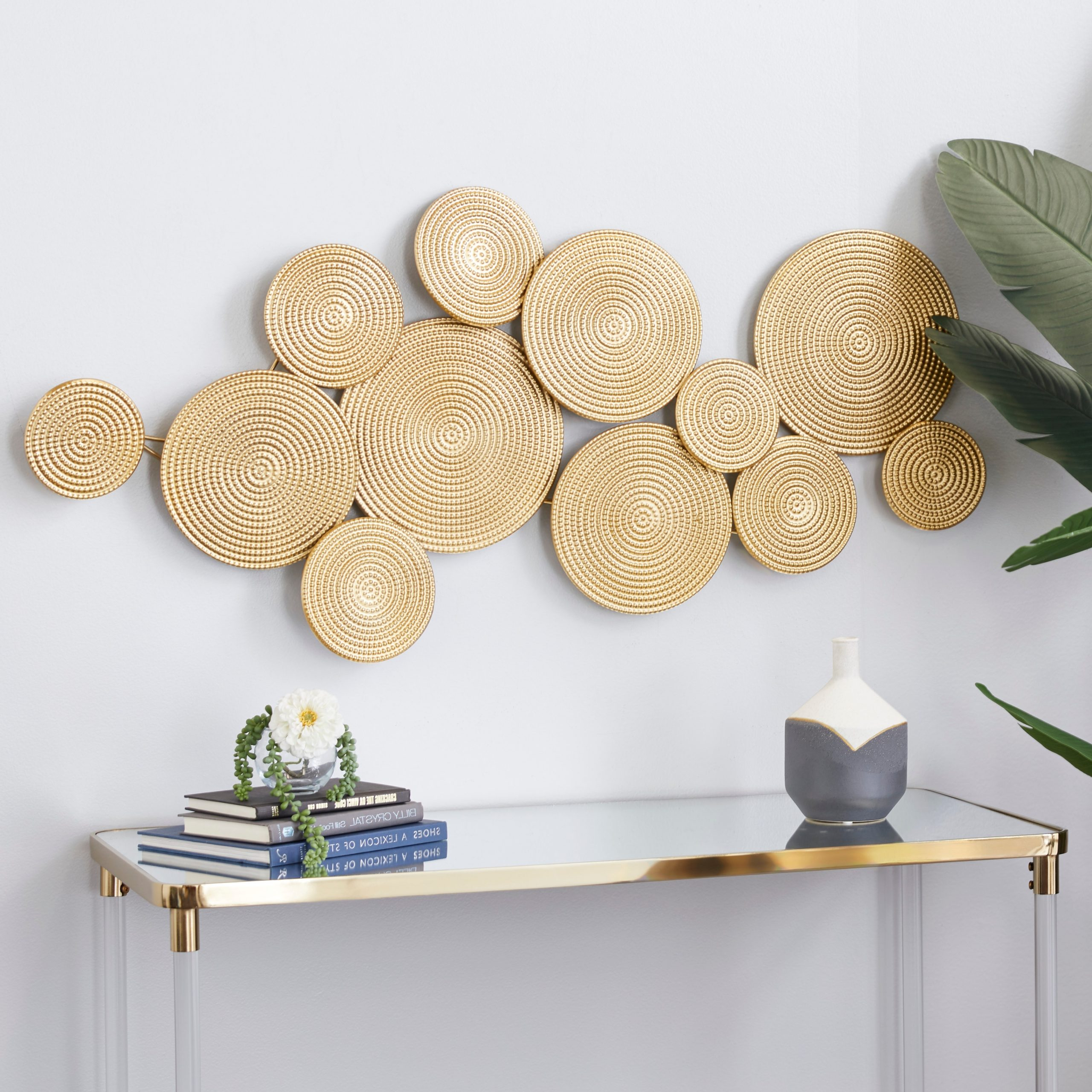 Metal Wall Décor By Cosmoliving Inside Well Known Cosmolivingcosmopolitan Gold Metal Wall Decor 24 X 49 X 3 – 49 X 3 X (View 3 of 20)