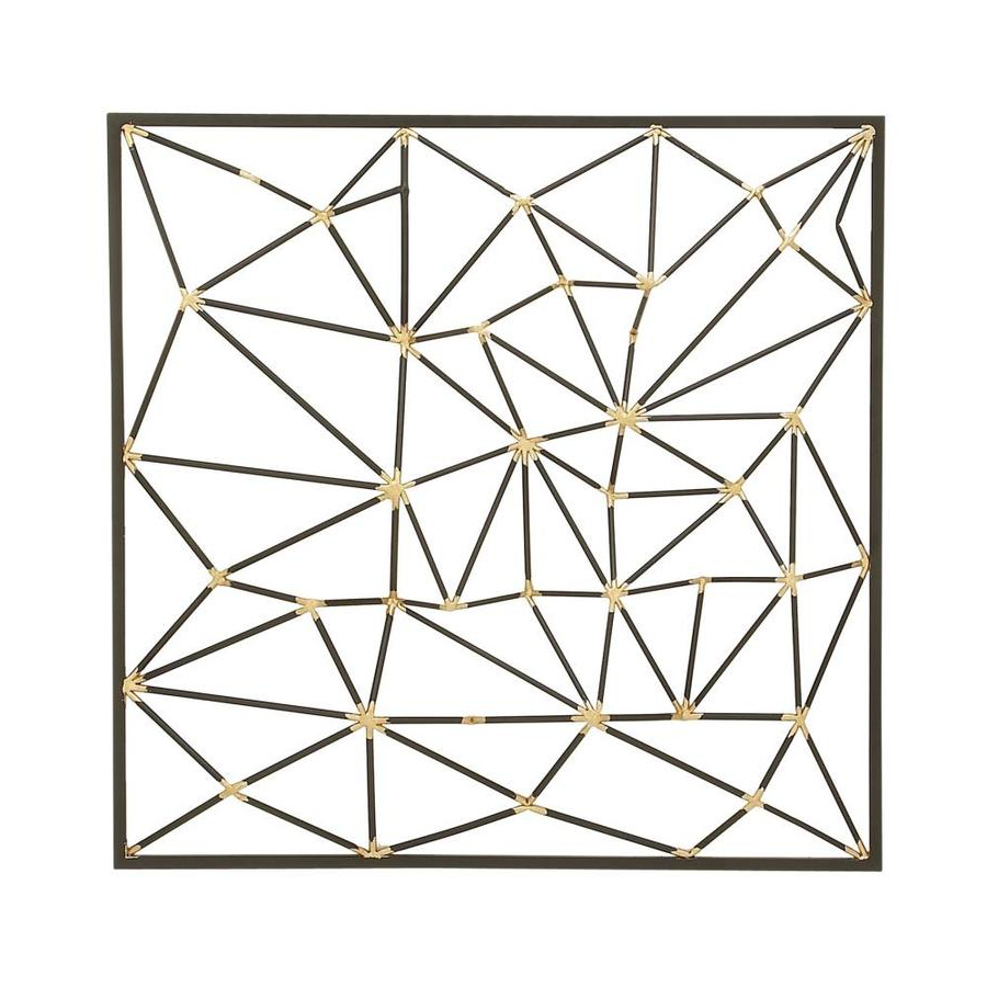 Metal Wall Décor By Cosmoliving Pertaining To Popular Cosmolivingcosmopolitan Modern Style Large Square Metallic Gold And Black Metal 3d Abstract Art Wall Decor 32 X (View 12 of 20)