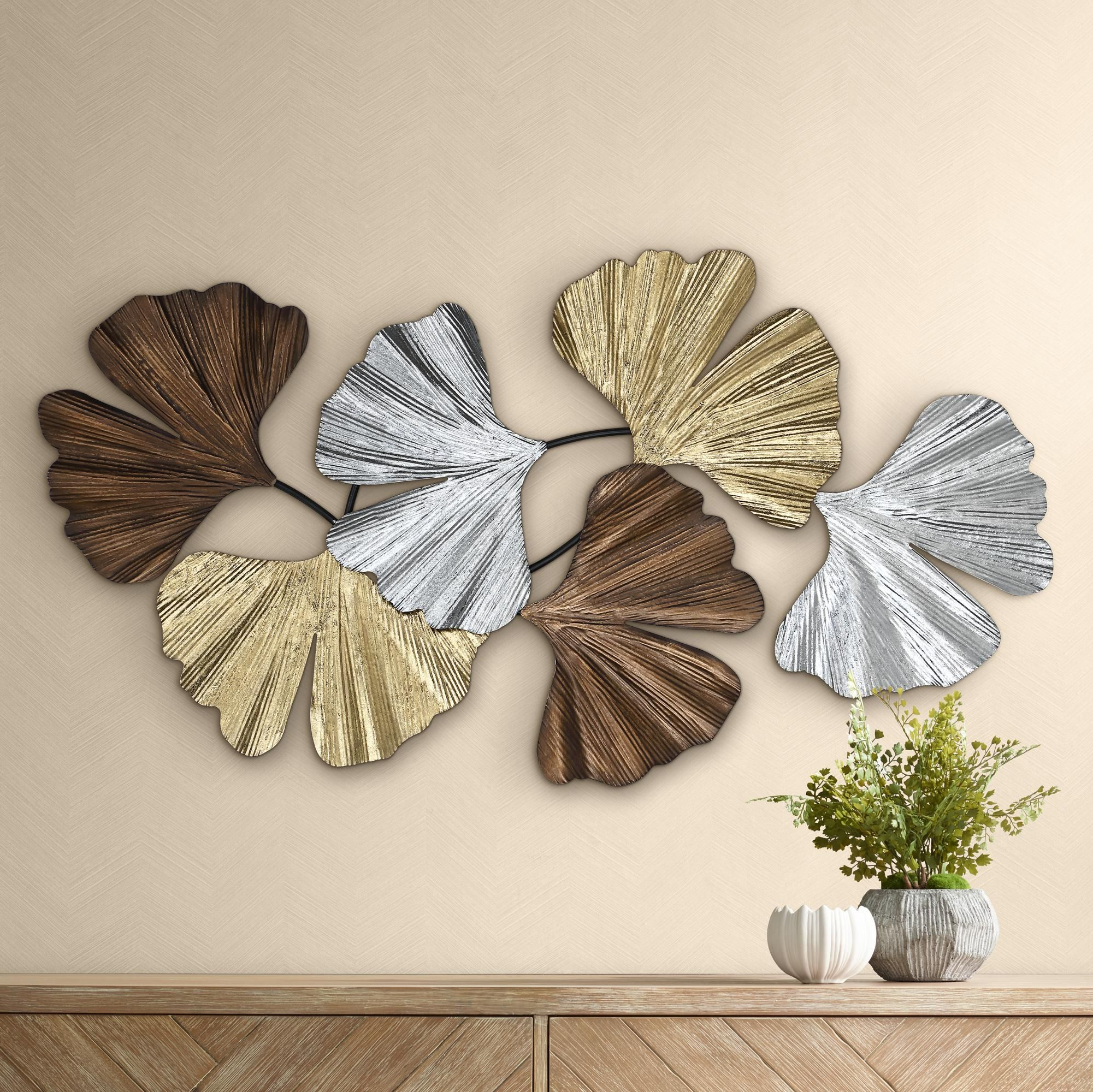 """Metallic Leaves 41"""" Wide Metal Wall Art In 2020 For Maria Metal Capiz Wall Décor (View 13 of 20)"""