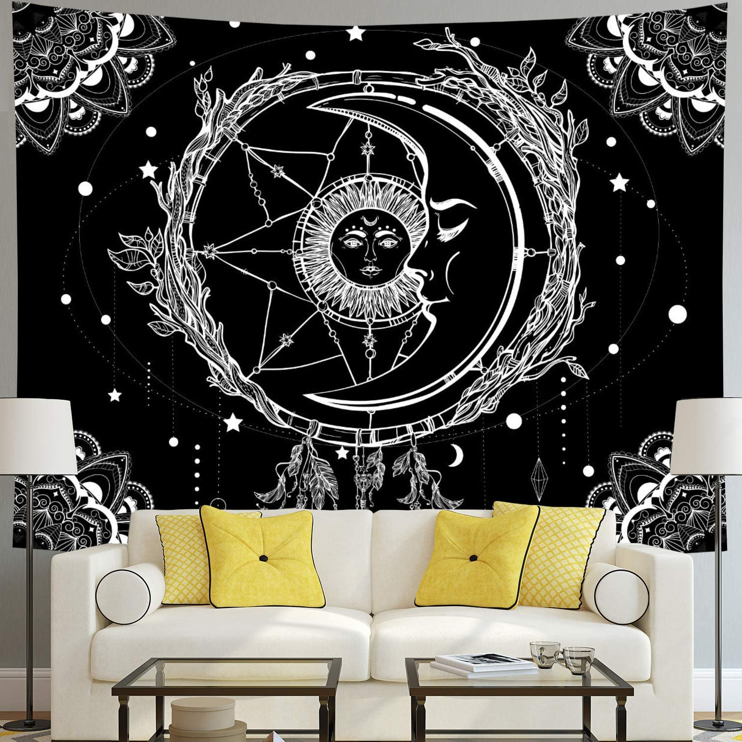 Moon And Sun Tapestry Psychedelic Bohemian Mandala Wall Tapestry Black And White Indian Hippy Celestial Tapestry Starry Dreamcatcher Tapestry Wall With Regard To Widely Used Blended Fabric Celestial Wall Hangings (set Of 3) (View 15 of 20)