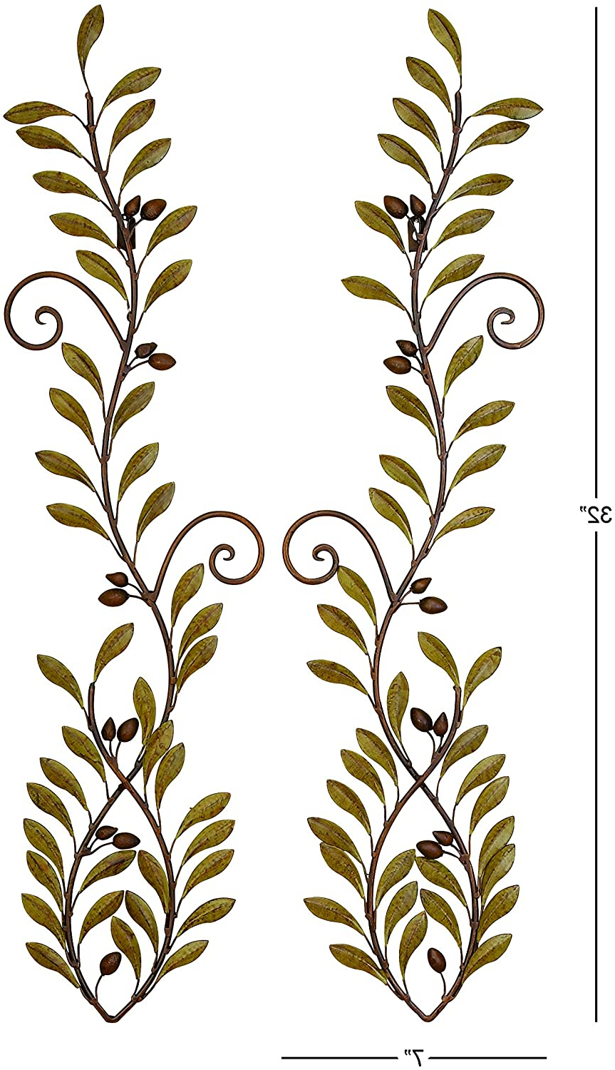 Most Current Deco 79 41911 Urban Trends Down Face Fish Metal Wall Decor, 732 Inch, Brown/green With Metal Leaf With Berries Wall Décor (View 16 of 20)