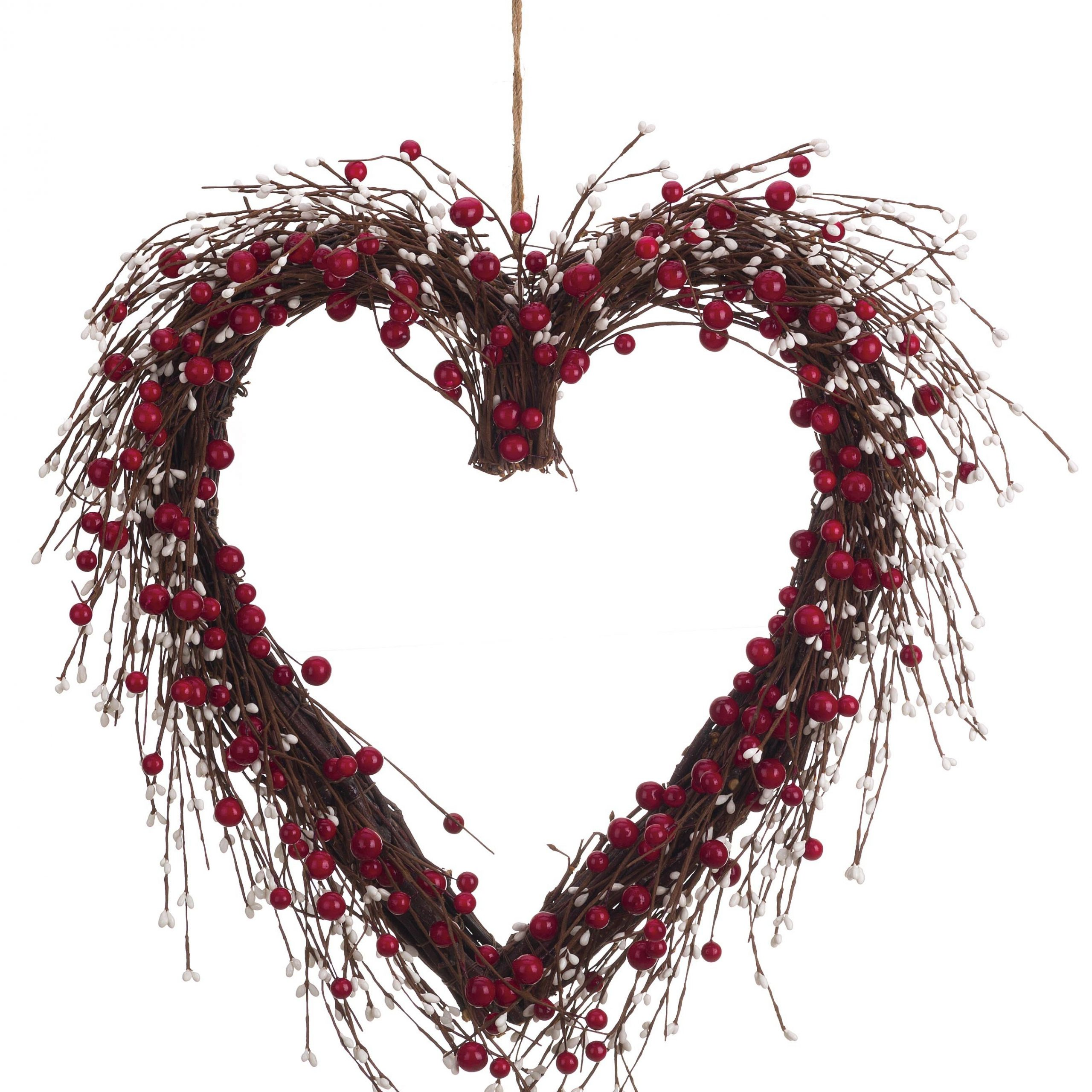 """Most Current Faux Berry And Twig Heart 20"""" Wood Wreath Intended For Heart Shaped """"welcome"""" Sign Wall Décor By August Grove (View 3 of 20)"""