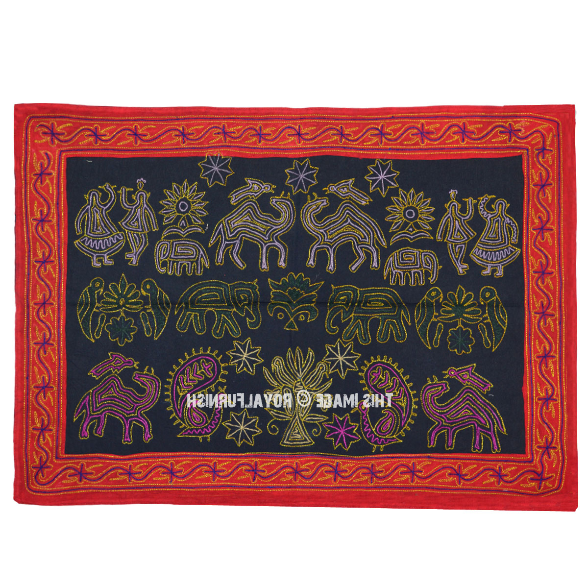 Most Current Indian Bohemian Hand Embroidered Fabric Wall Hanging Tapestry With Blended Fabric Southwestern Bohemian Wall Hangings (View 15 of 20)